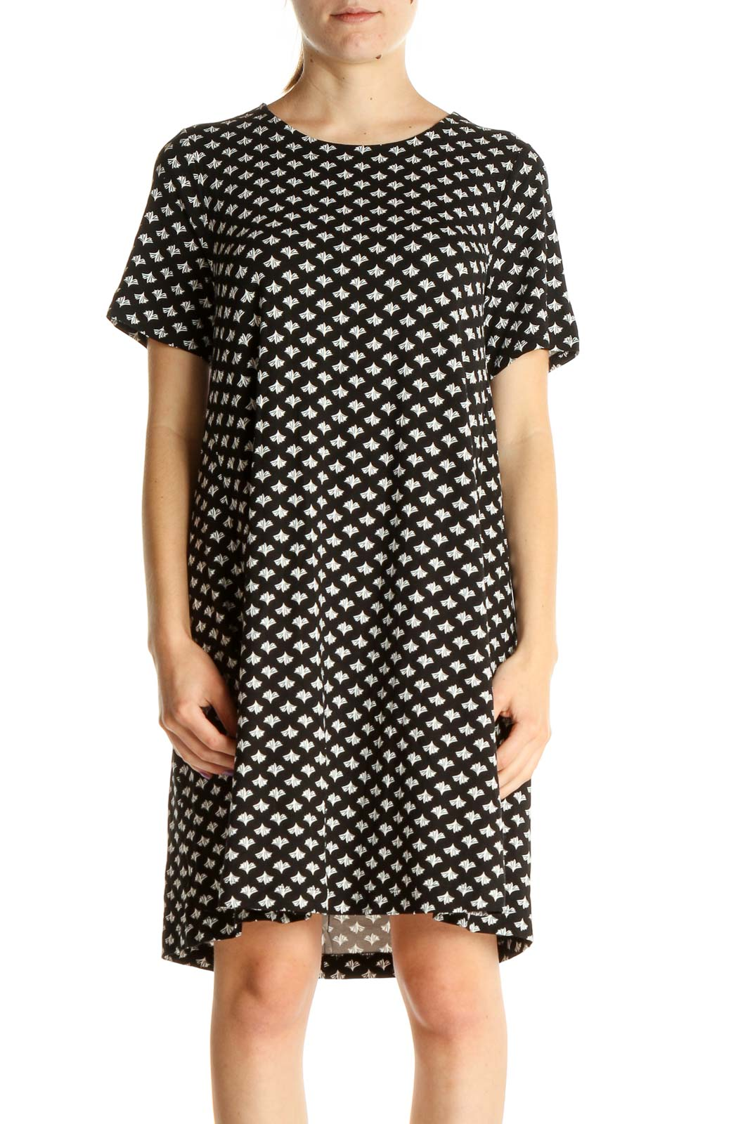 Black Printed Day Shift Dress Front