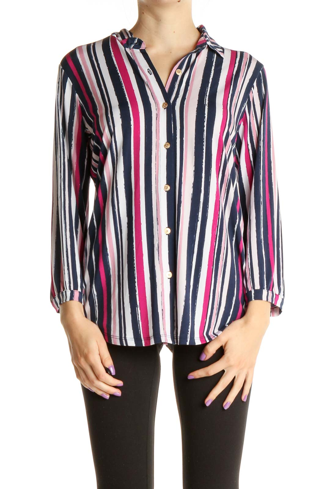 Blue Striped Formal Shirt Front