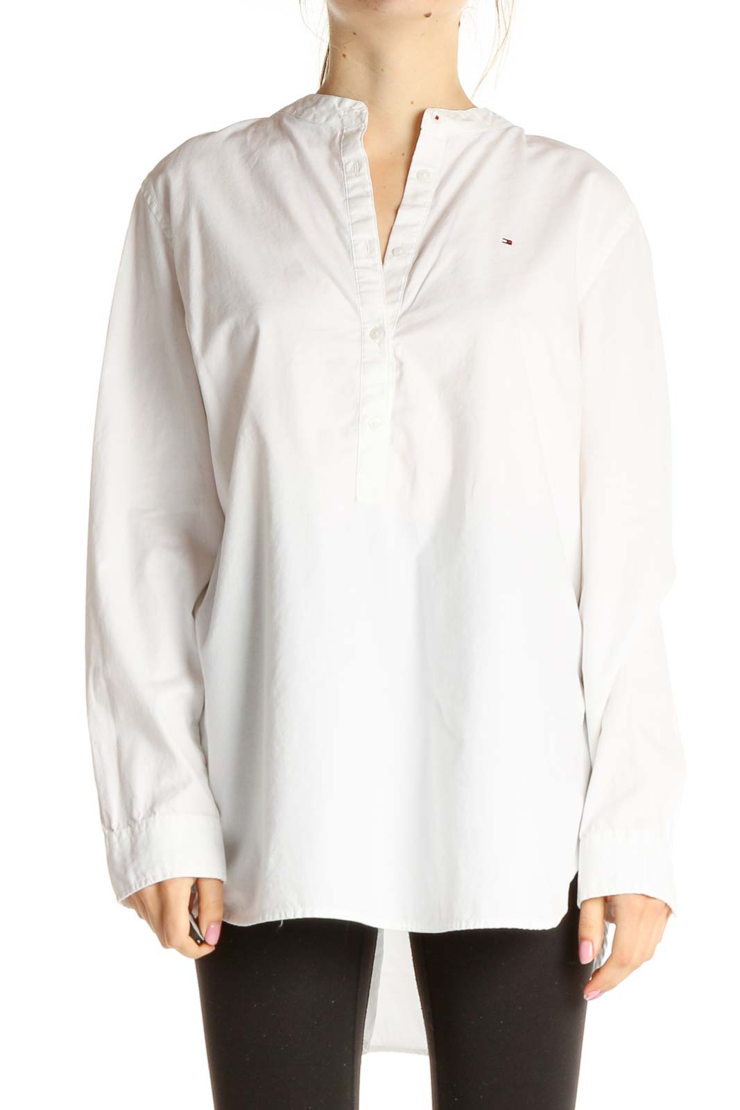 White Solid Formal Shirt Front