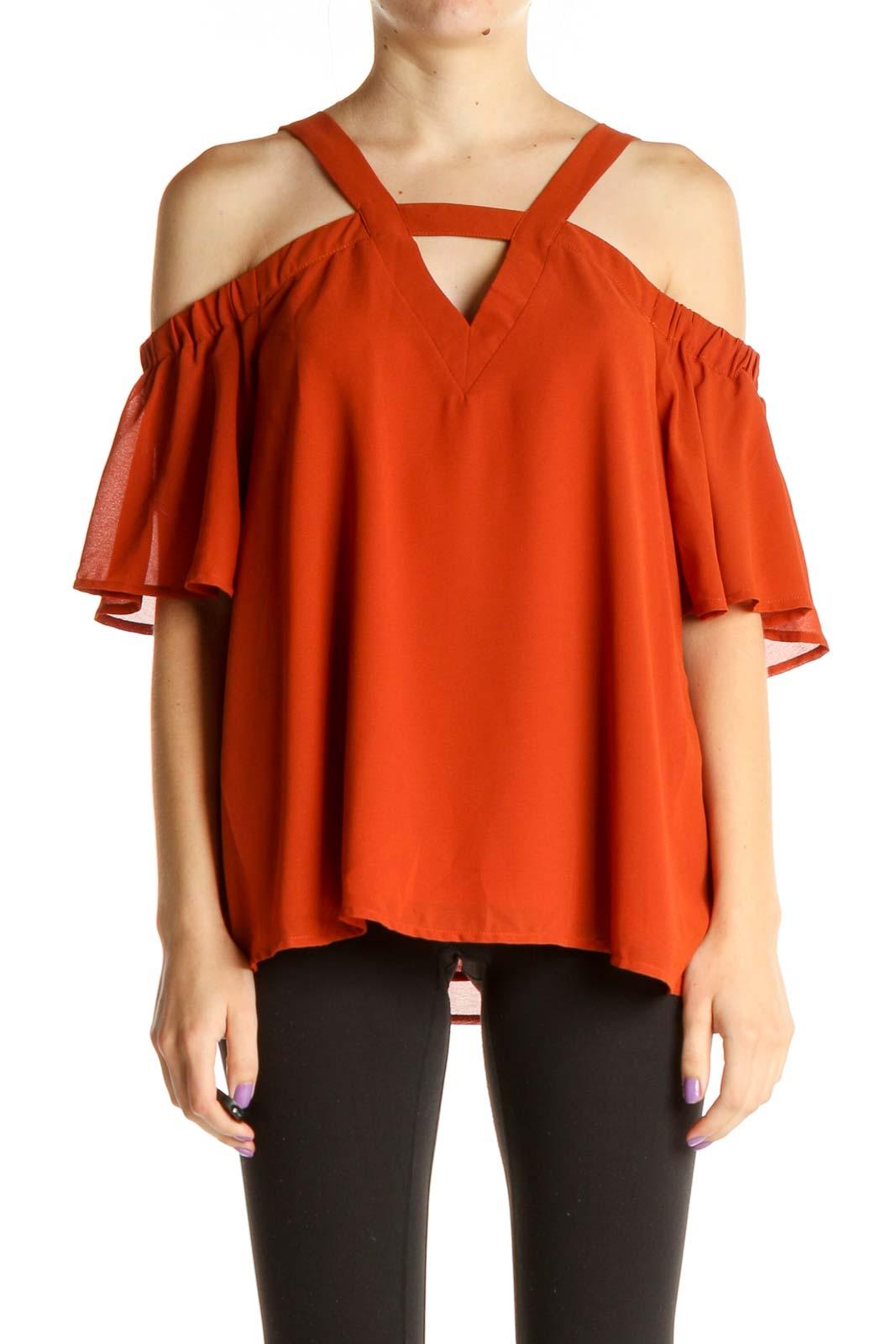 Orange Solid Brunch Blouse Front