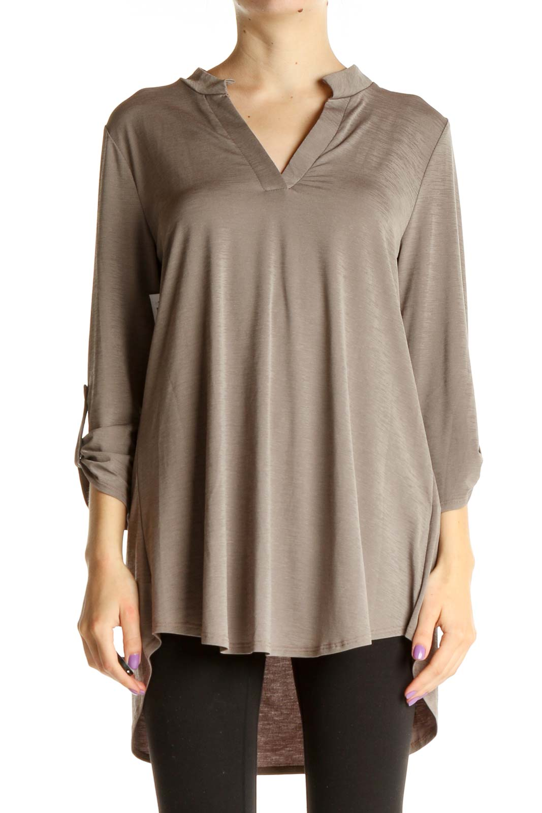Gray Solid Blouse Front