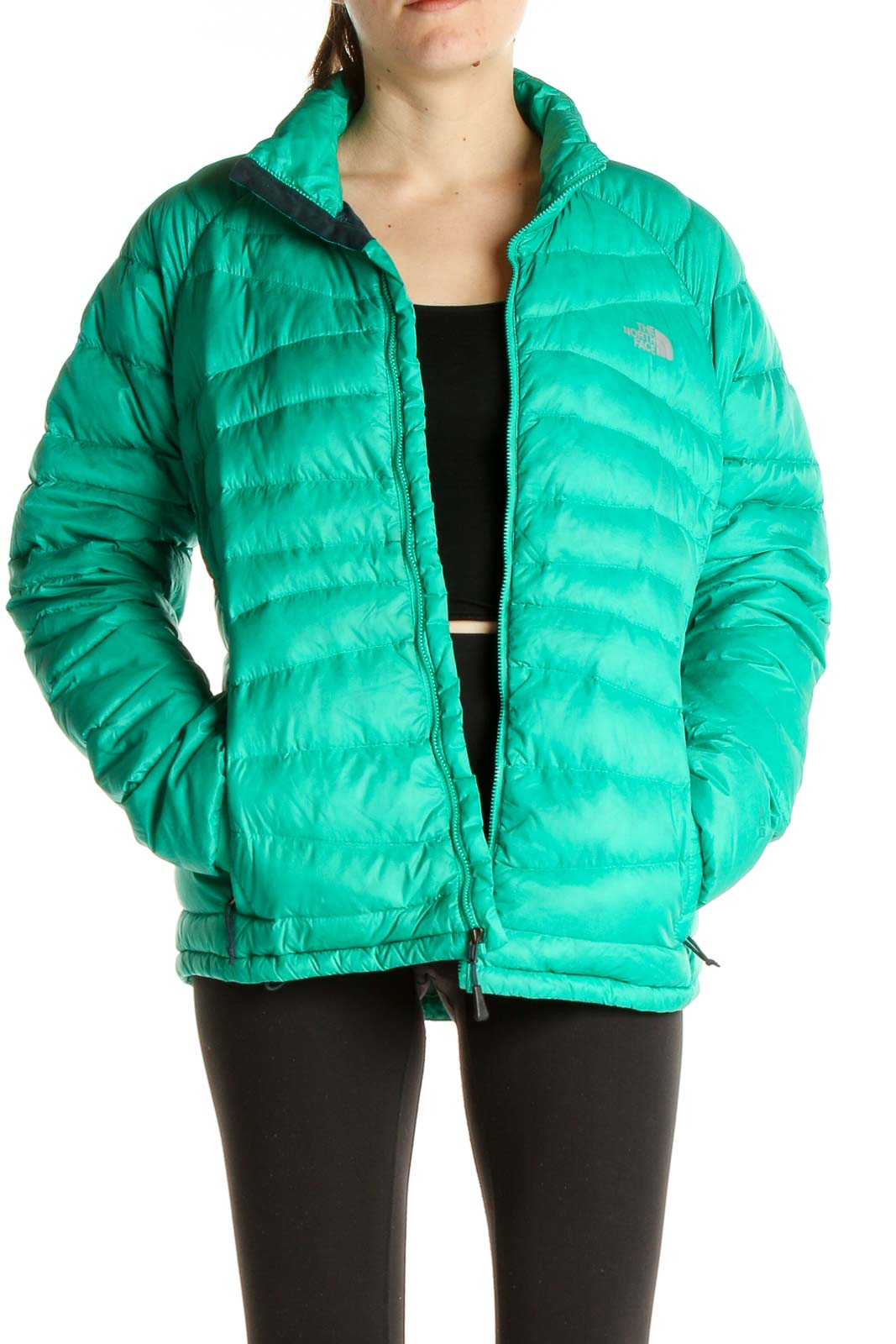 Green Puffer Jacket Front