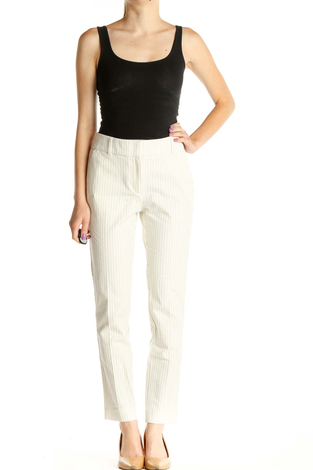 White Striped Casual Trousers Front