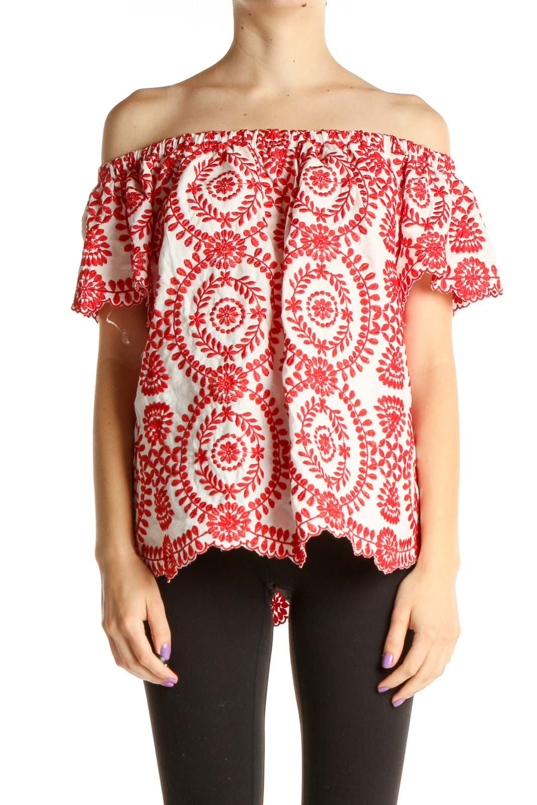 Red Printed Holiday Blouse Front