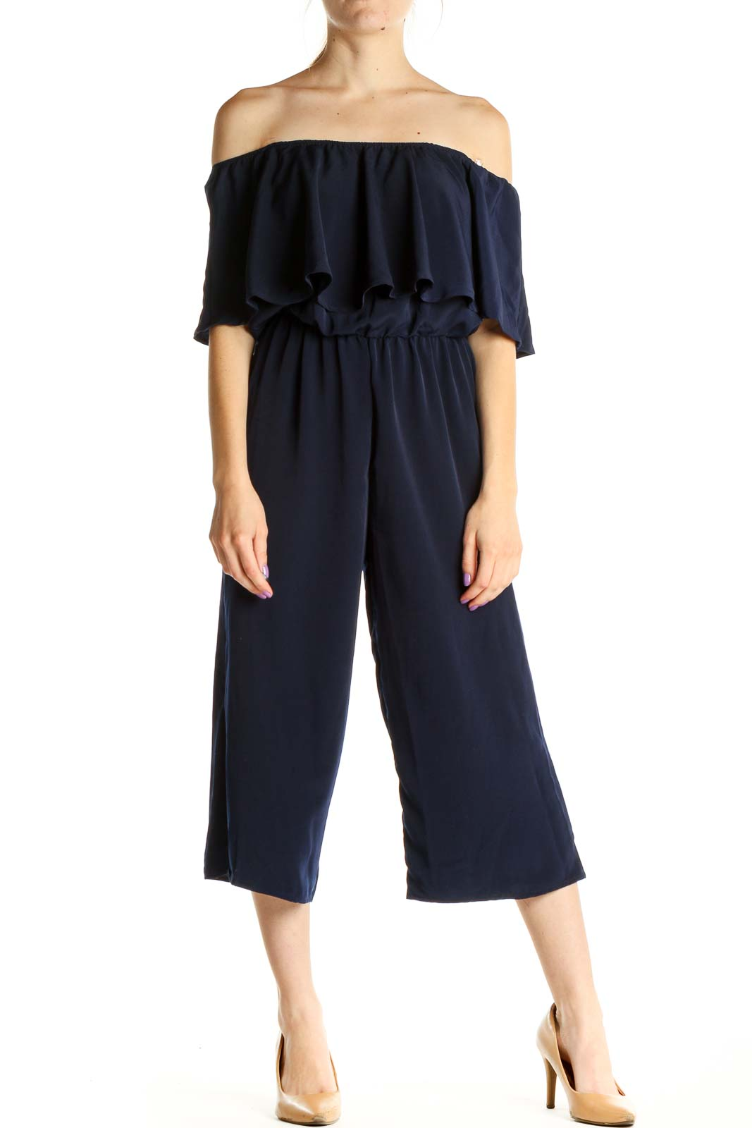 Blue Solid Jumpsuit Front
