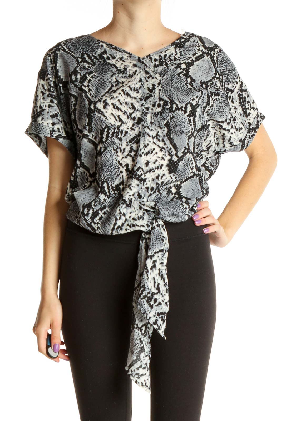 Gray Animal Print Casual Blouse Front