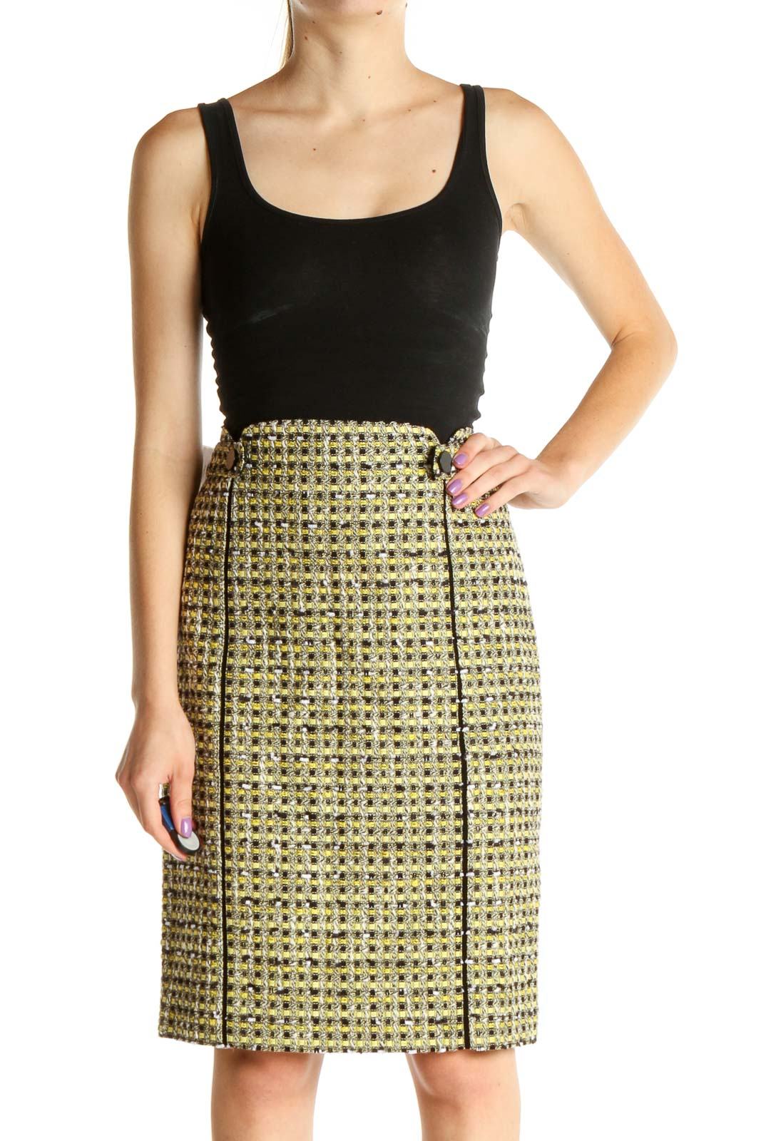 Yellow Houndstooth Retro Pencil Skirt Front