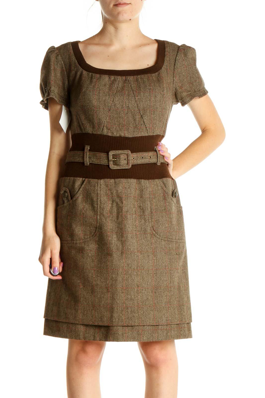 Brown Work Sheath Dress Front