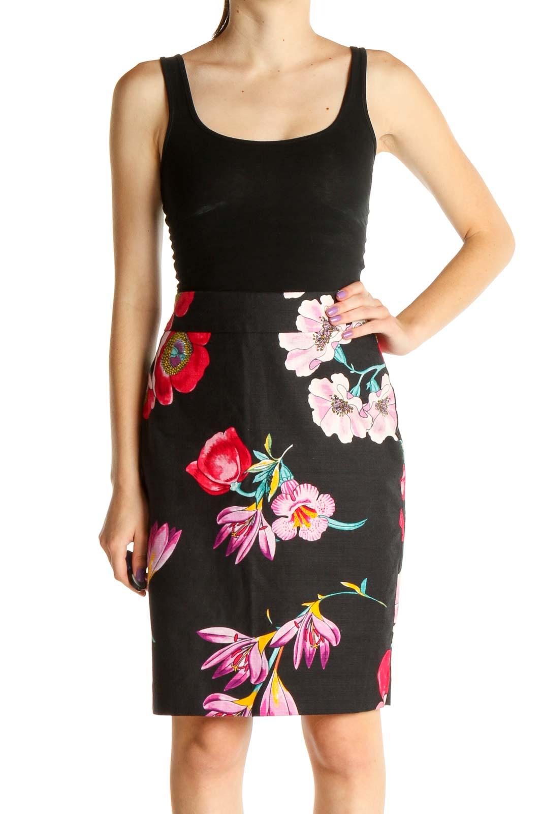 Black Floral Print Chic Pencil Skirt Front