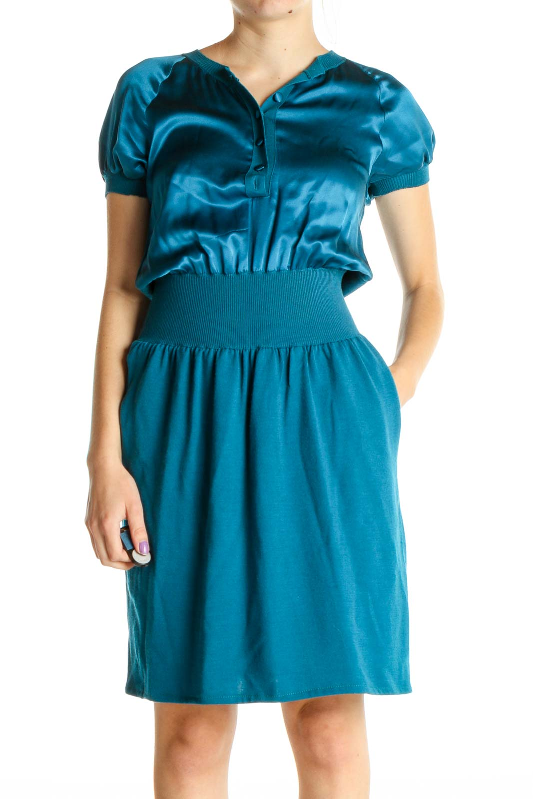 Blue Solid Retro Fit & Flare Dress Front