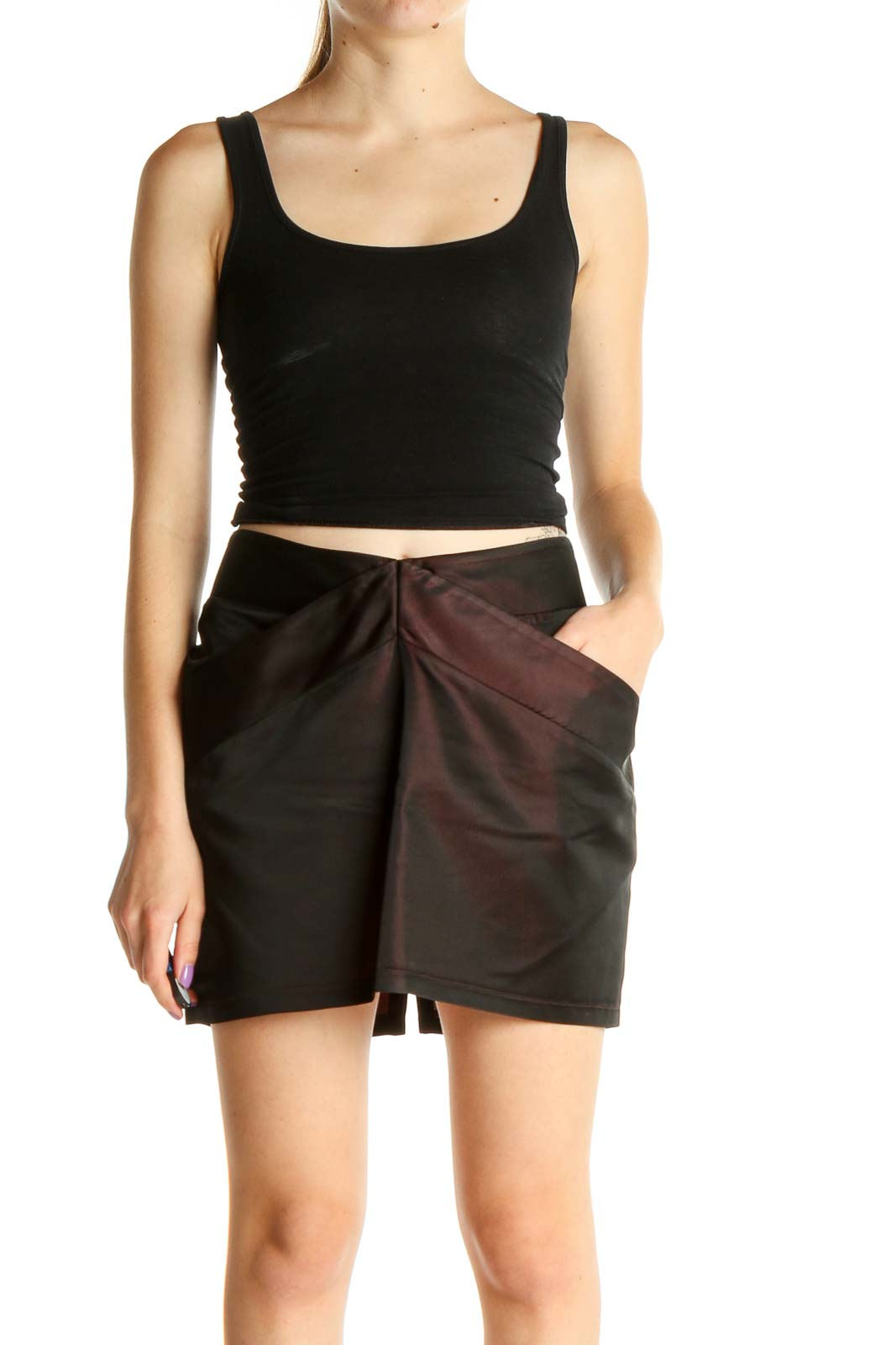 Black All Day Wear Mini Skirt Front