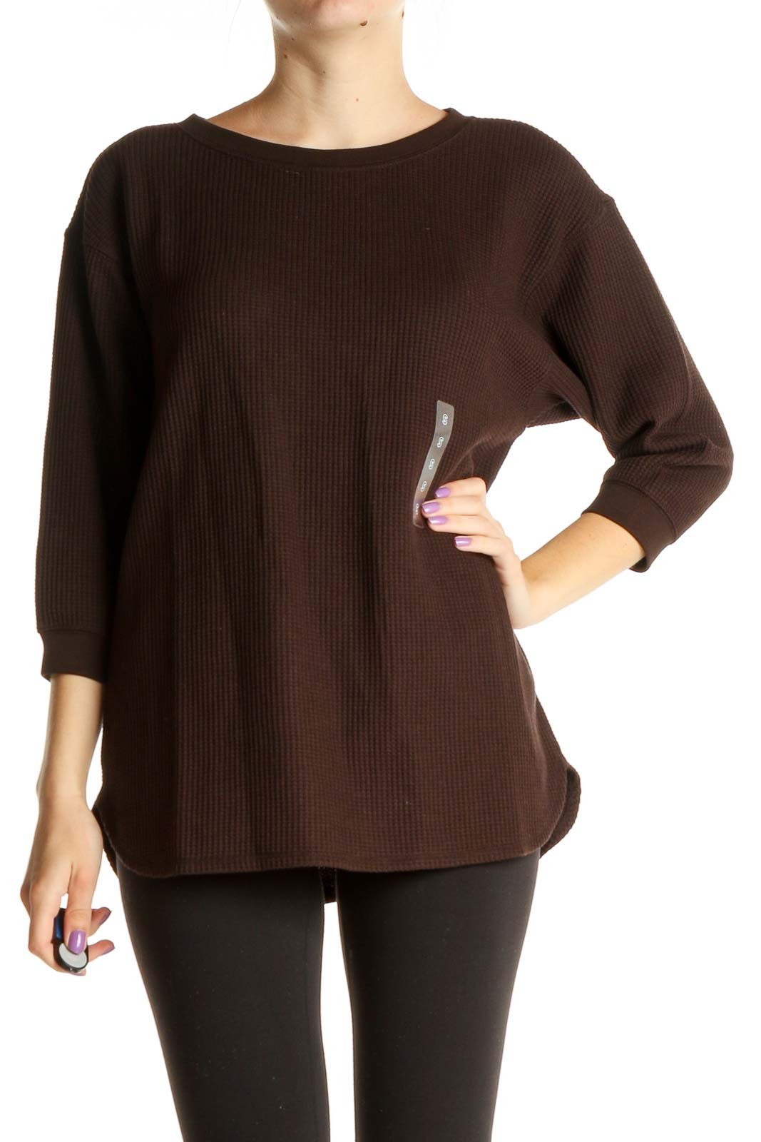 Brown Solid Classic Sweater Front