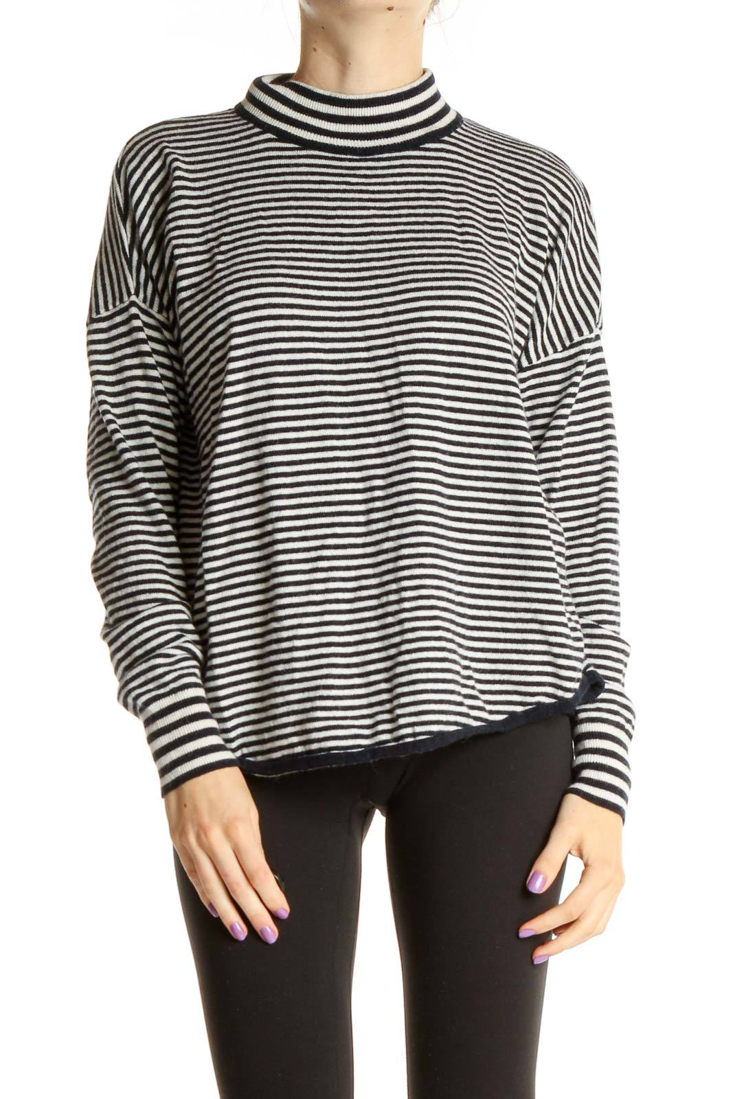 White Striped All Day Wear T-Shirt Front