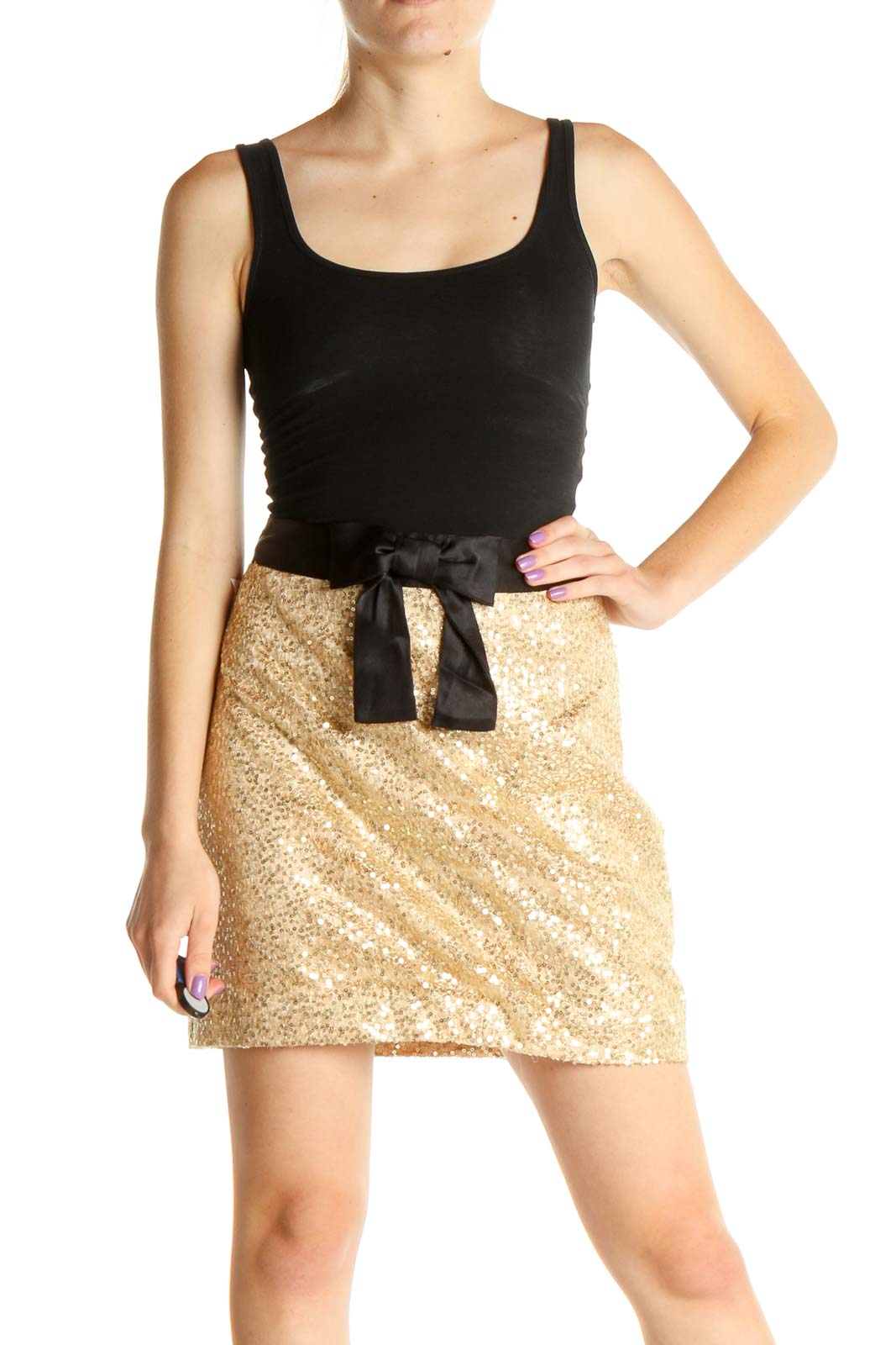 Gold Sequin Chic A-Line Skirt Front