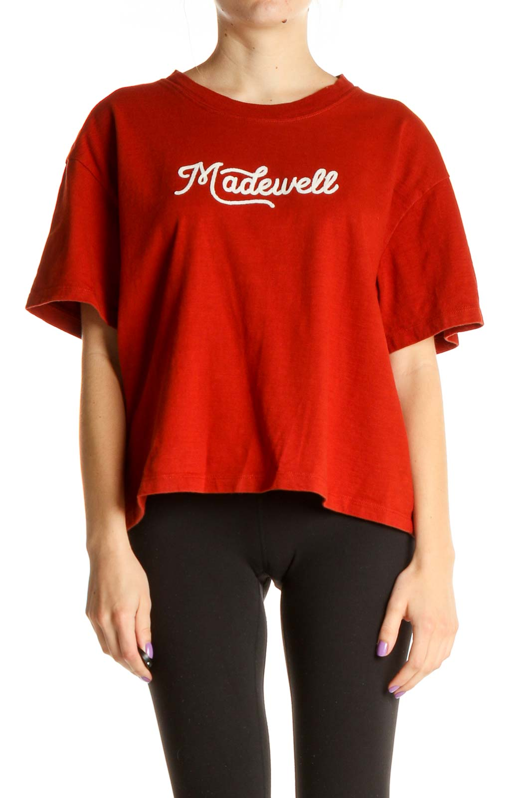 Red Graphic Print All Day Wear T-Shirt Front