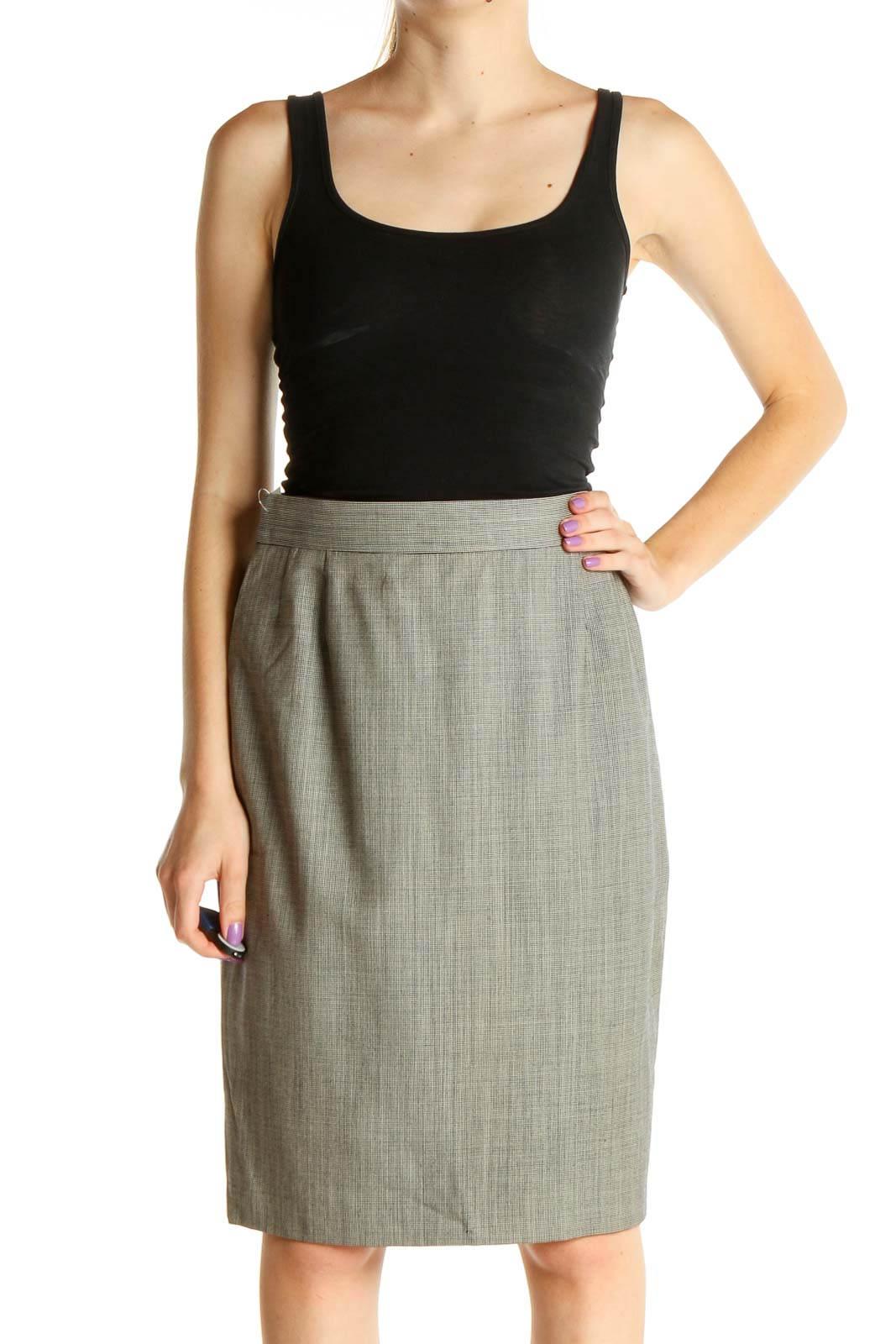 Gray Textured Brunch Pencil Skirt Front