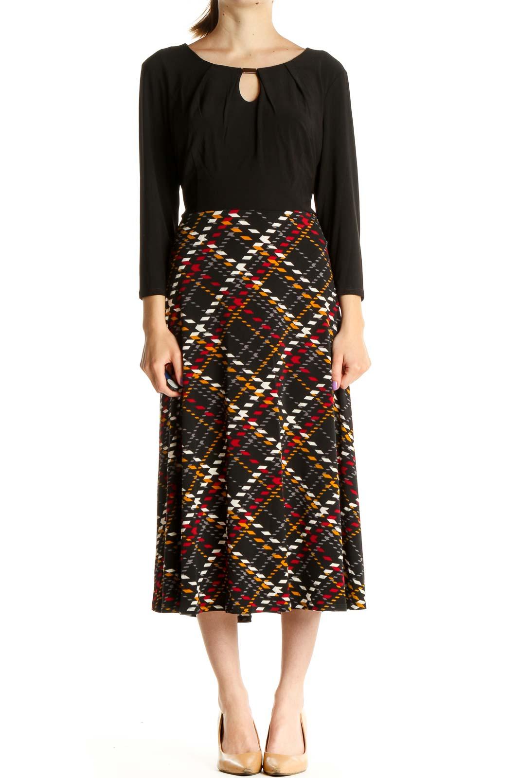 Black Printed Sheath Dress Front