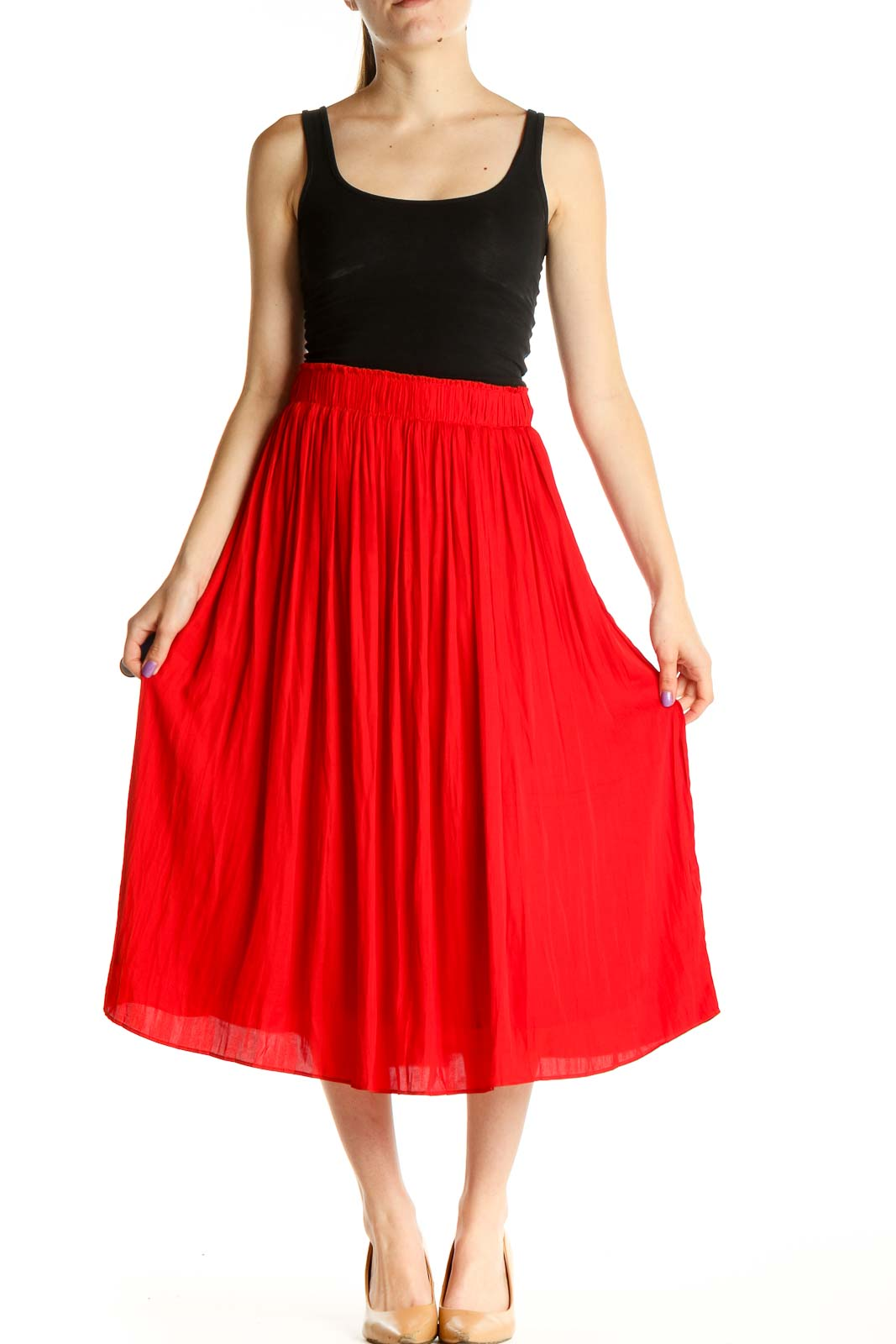 Red Retro Flared Skirt Front