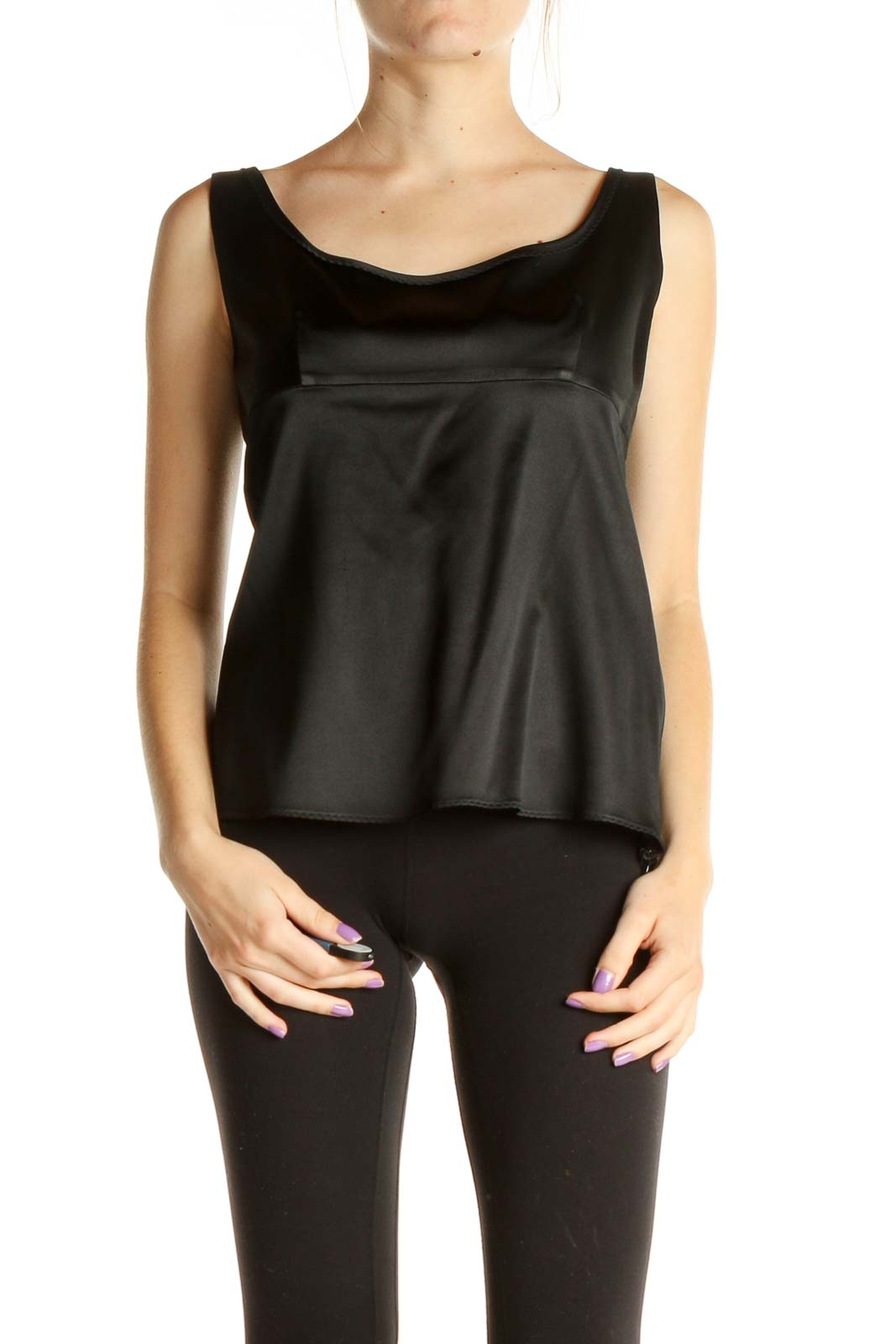 Black Solid Chic Tank Top Front