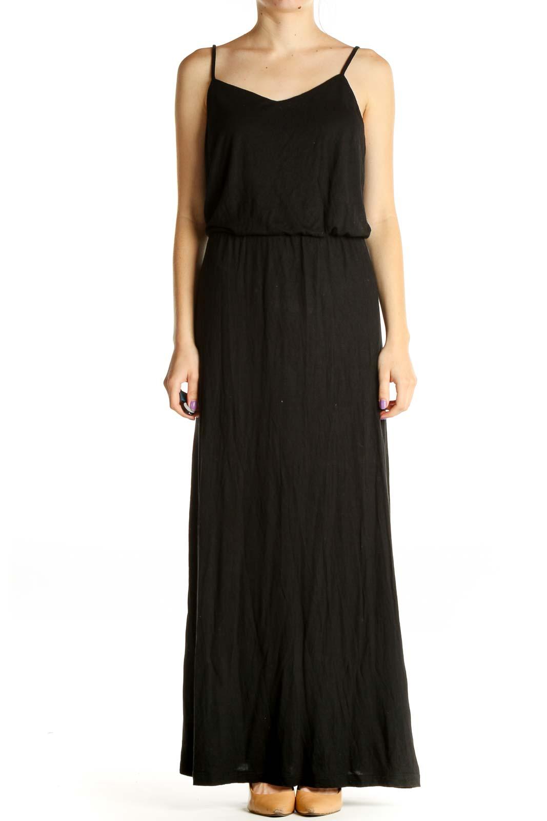 Black Solid Classic Column Dress Front