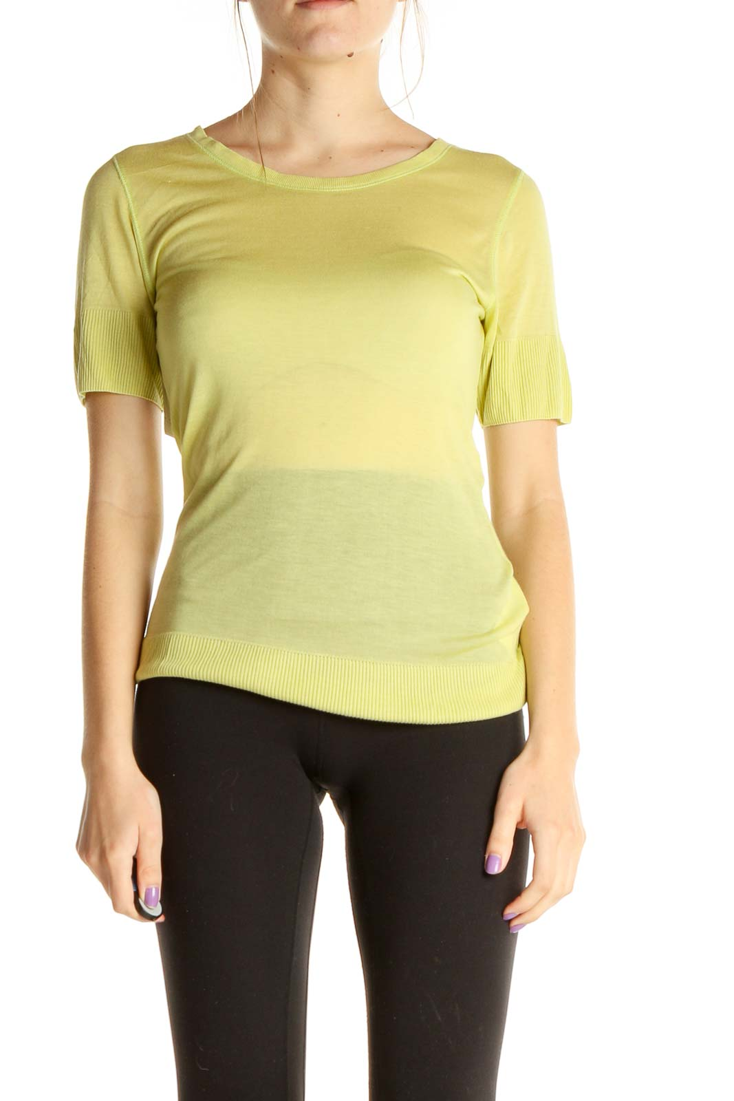 Green Solid All Day Wear T-Shirt Front
