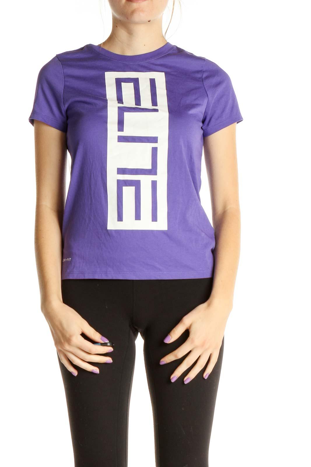 Purple Graphic Print Activewear T-Shirt Front