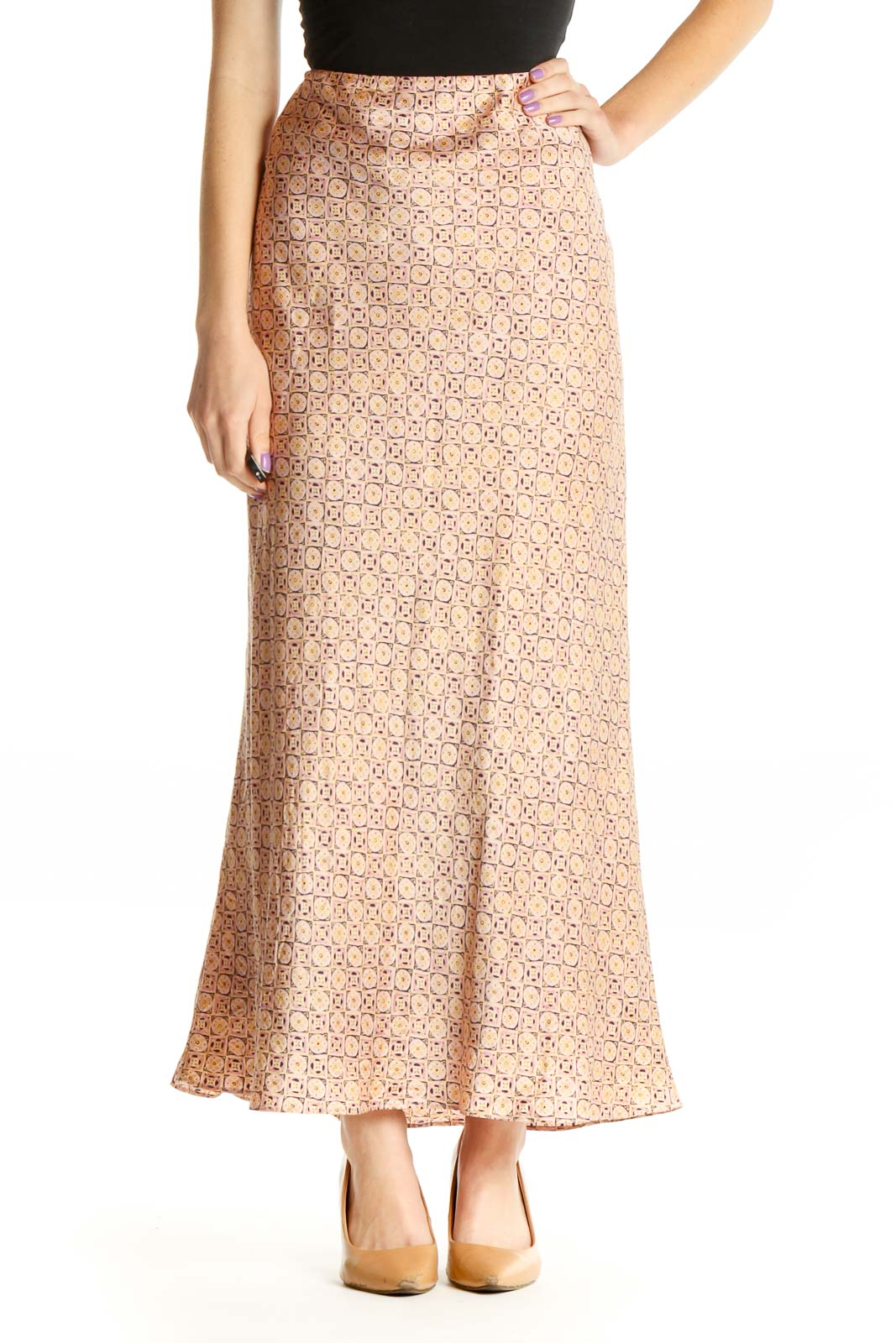 Pink Printed Bohemian A-Line Skirt Front
