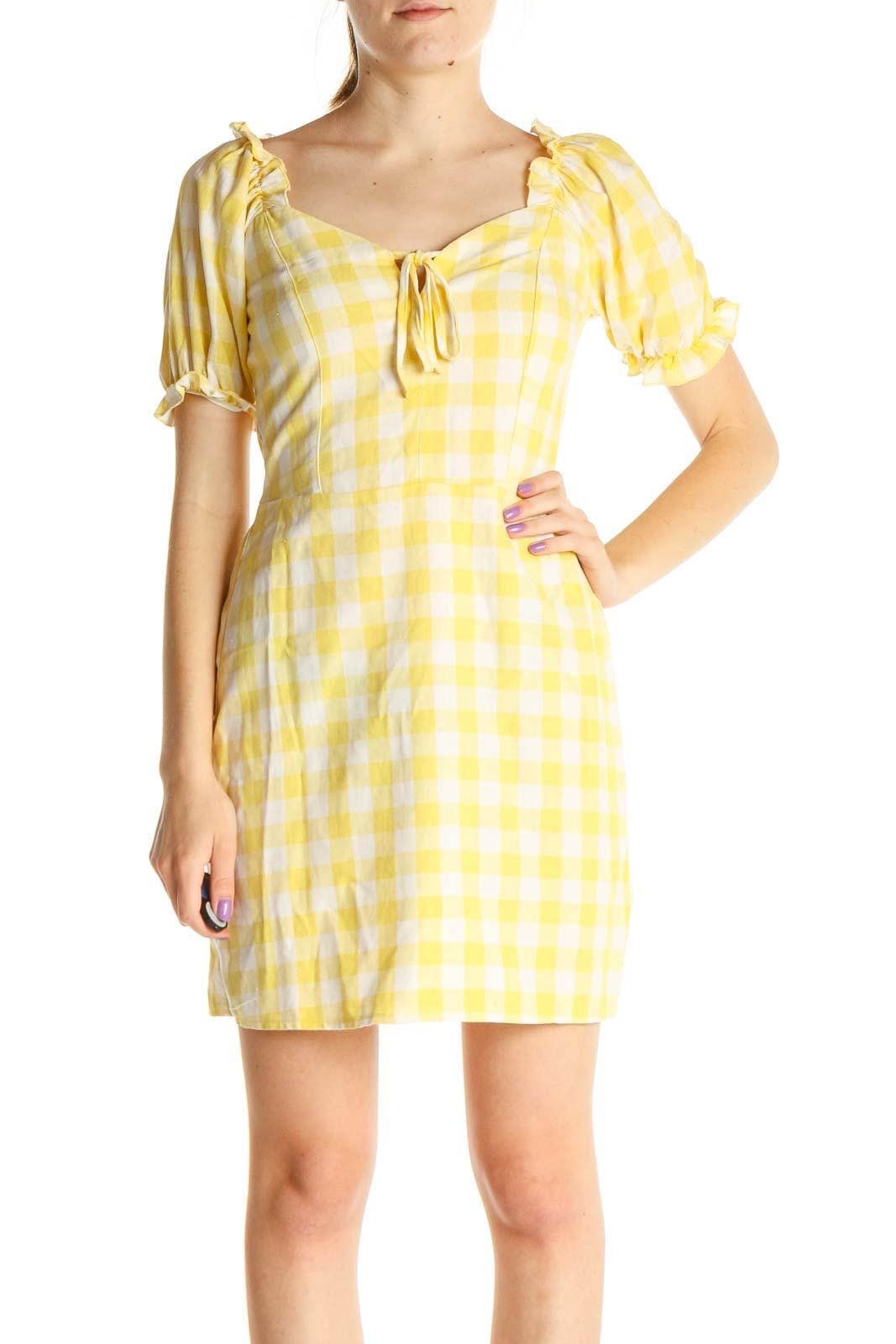Yellow Checkered Day Sheath Dress Front