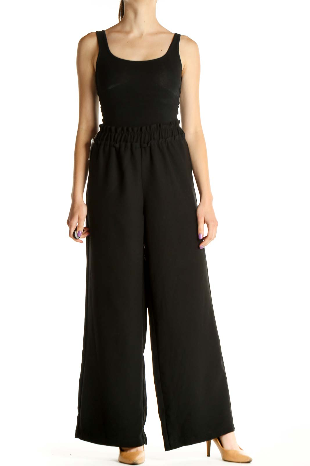 Black Solid Chic Wide-Leg Trousers Front
