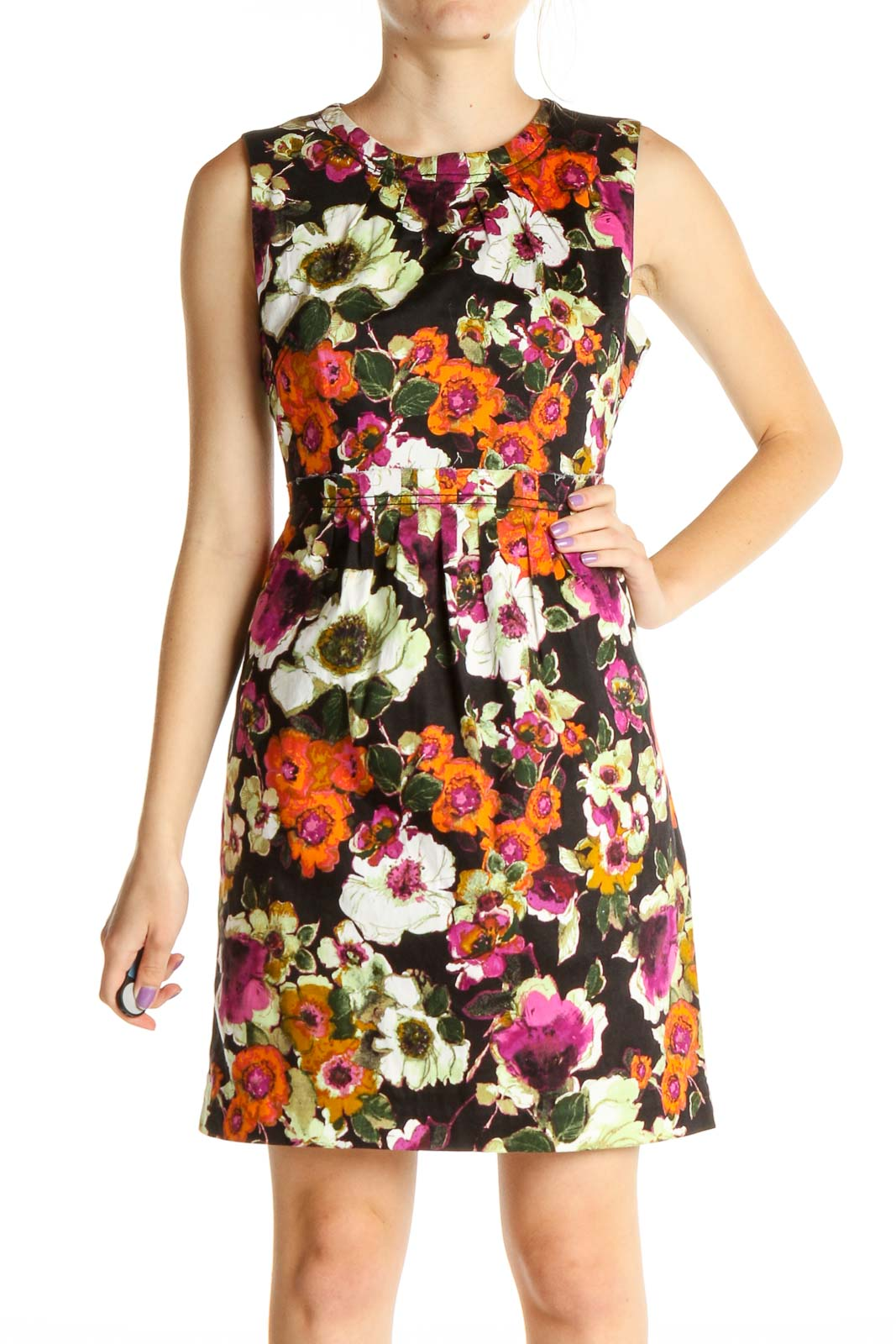 Orange Floral Print Day Fit & Flare Dress Front