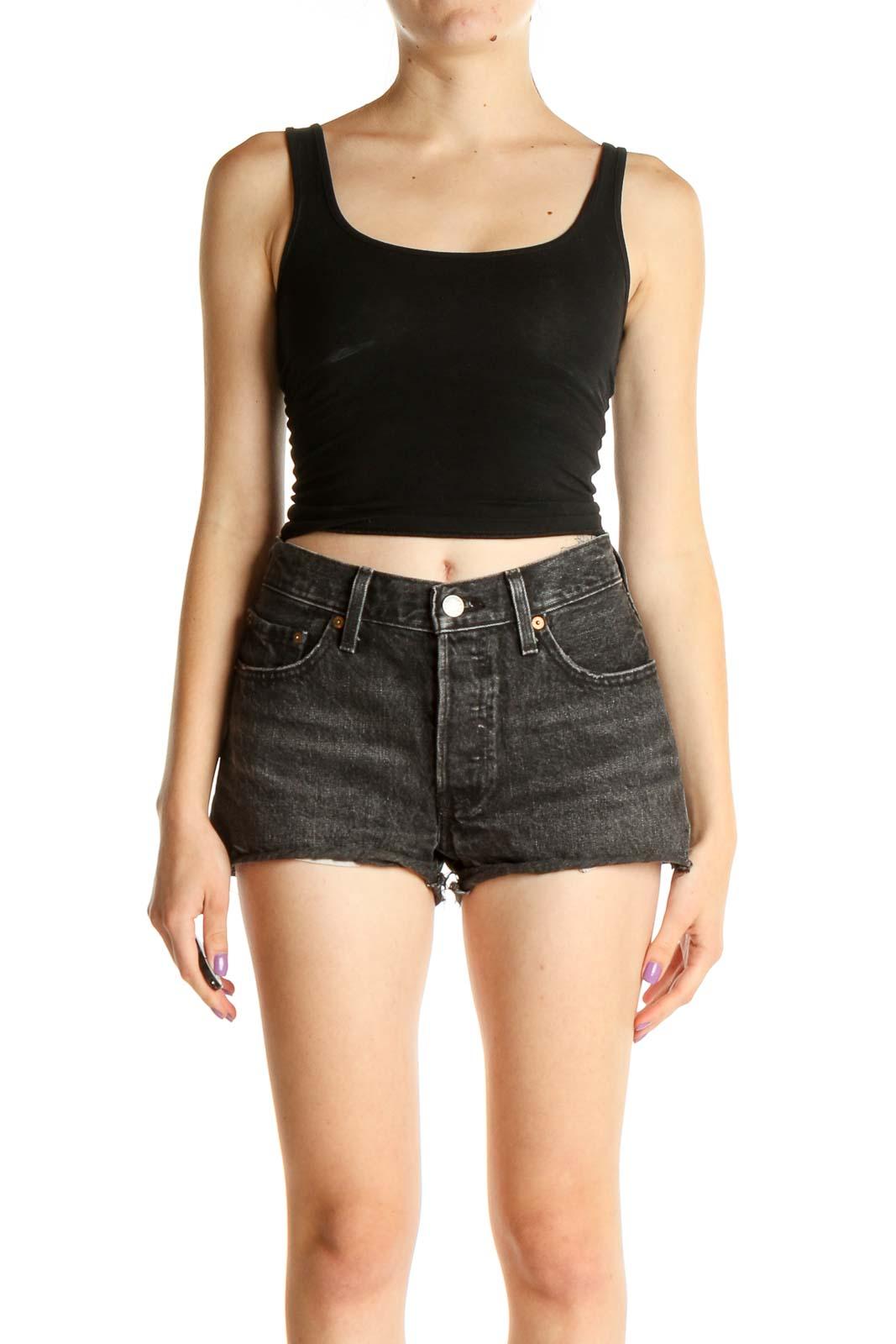 Gray Casual Shorts Front