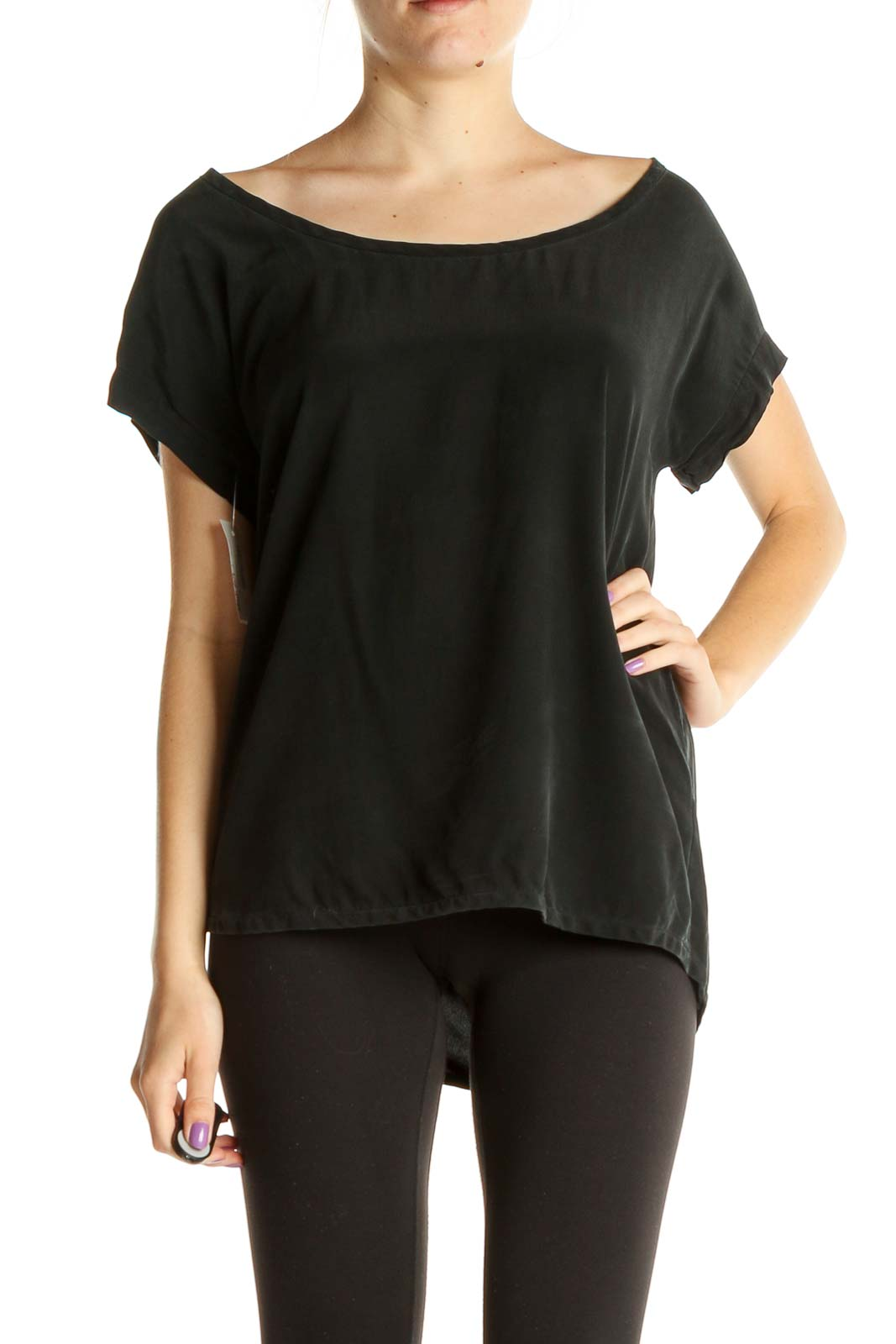 Black Solid T-Shirt Front