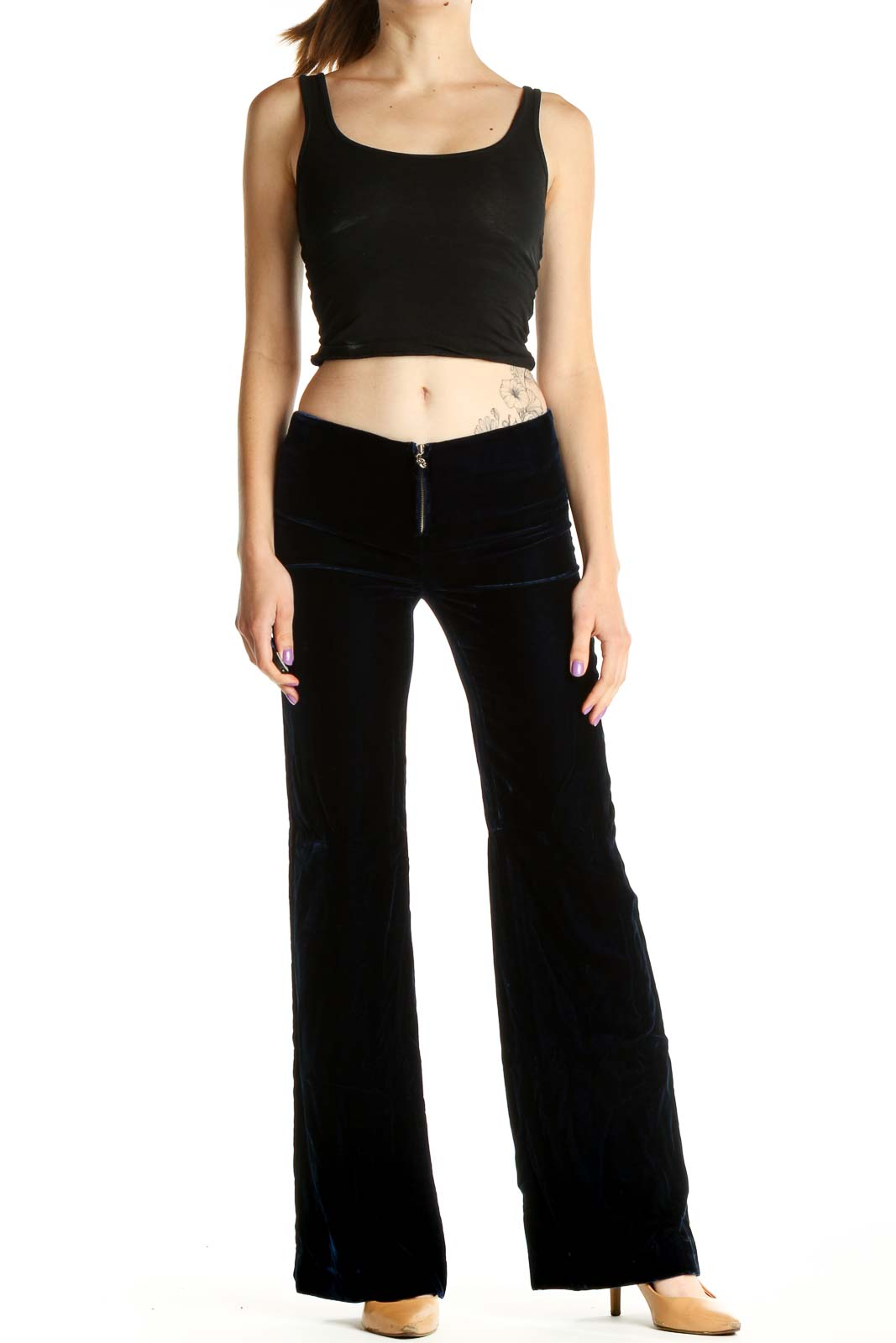 Blue Solid Classic Low-Waist Velour Trousers Front