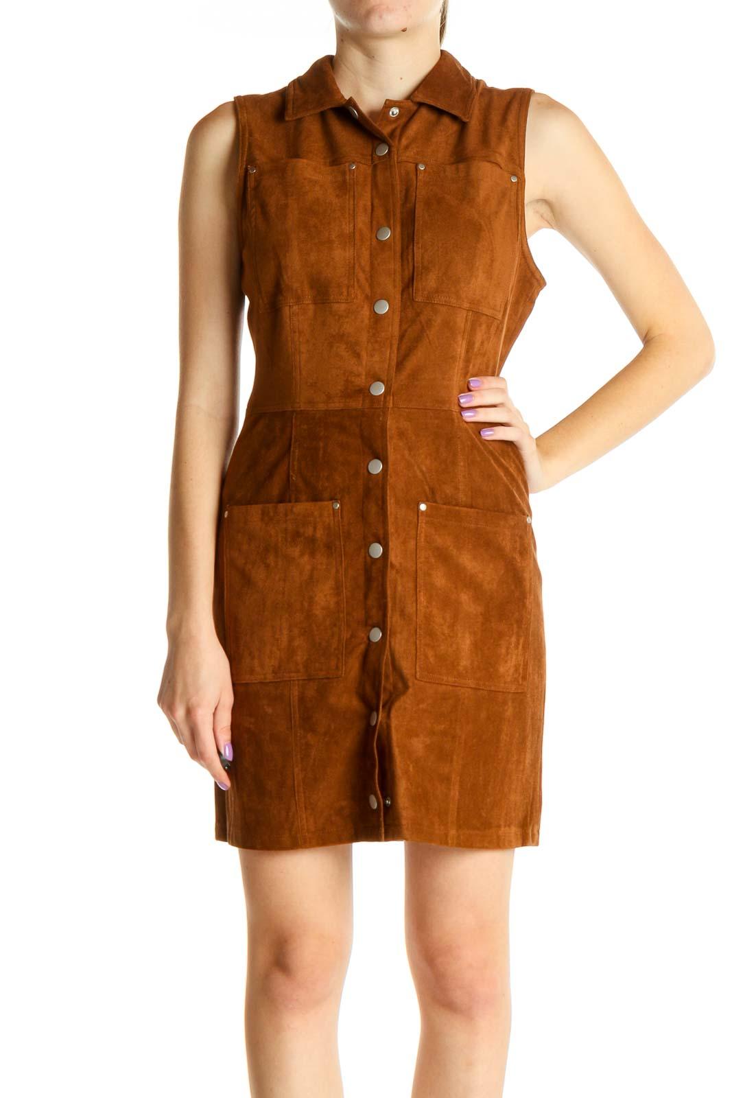 Brown Retro Sheath Dress Front