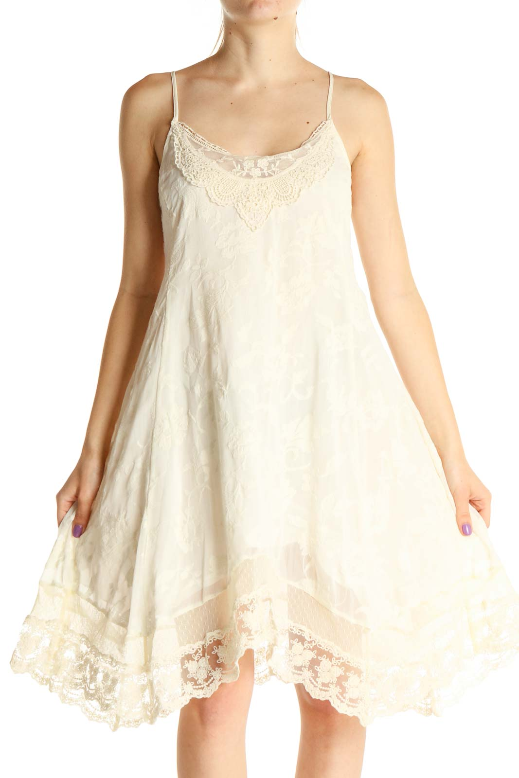 White Lace Bohemian Fit & Flare Dress Front