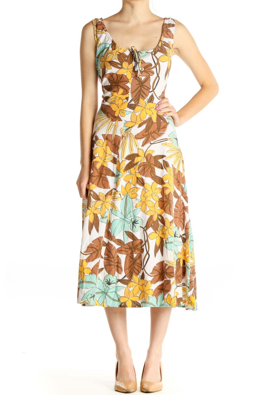 Brown Floral Print Day Fit & Flare Dress Front
