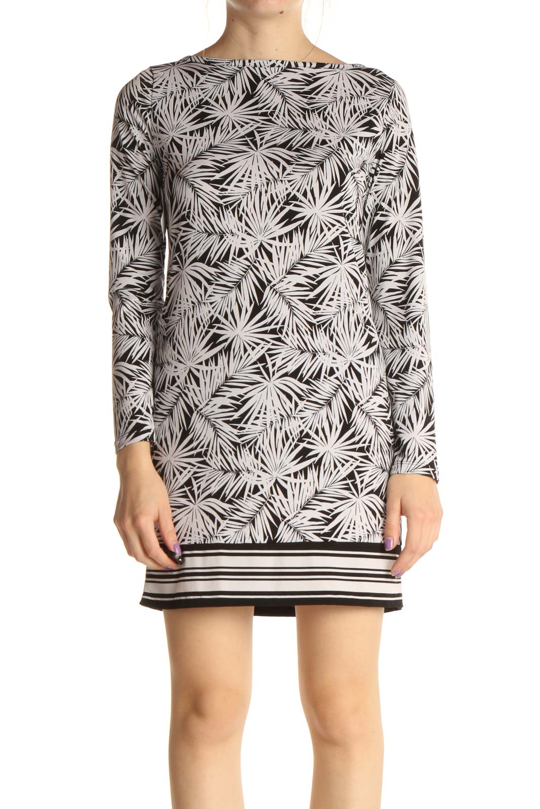Beige Tropical Print Day Shift Dress Front
