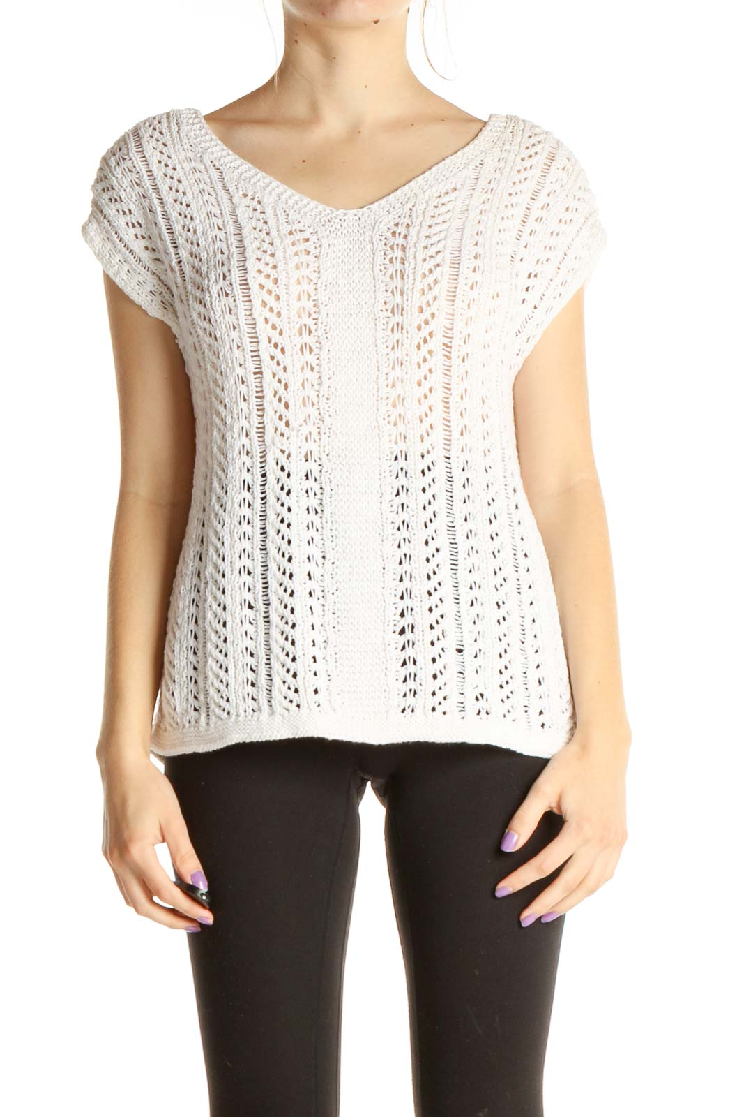 White Textured Blouse Front