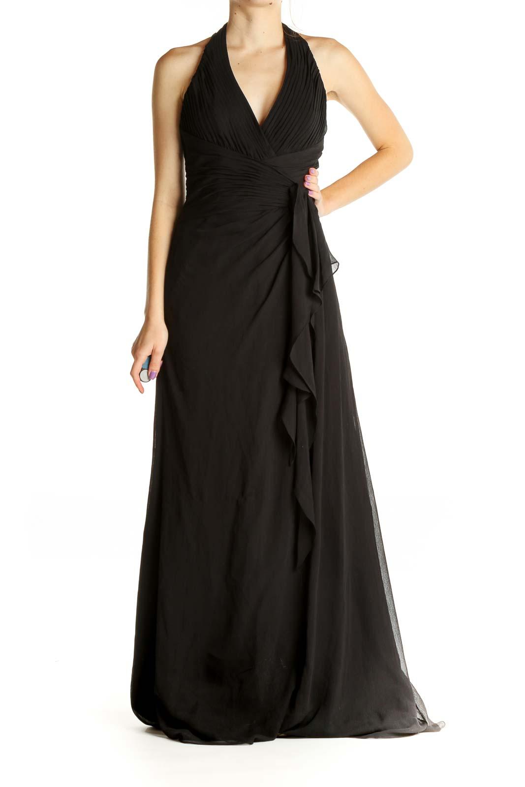 Black Solid Formal Column Dress Front