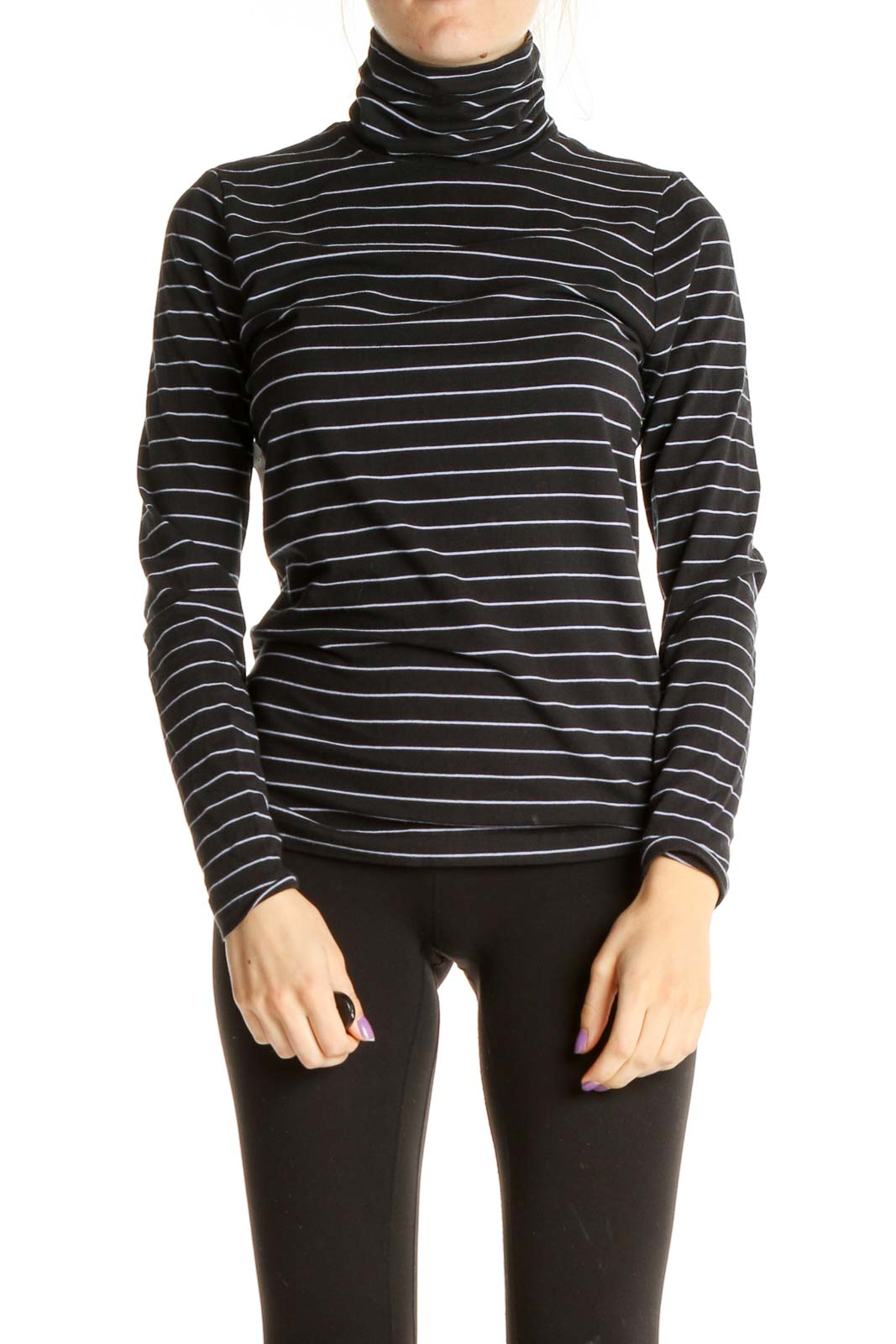 Black Striped Casual Shirt Front