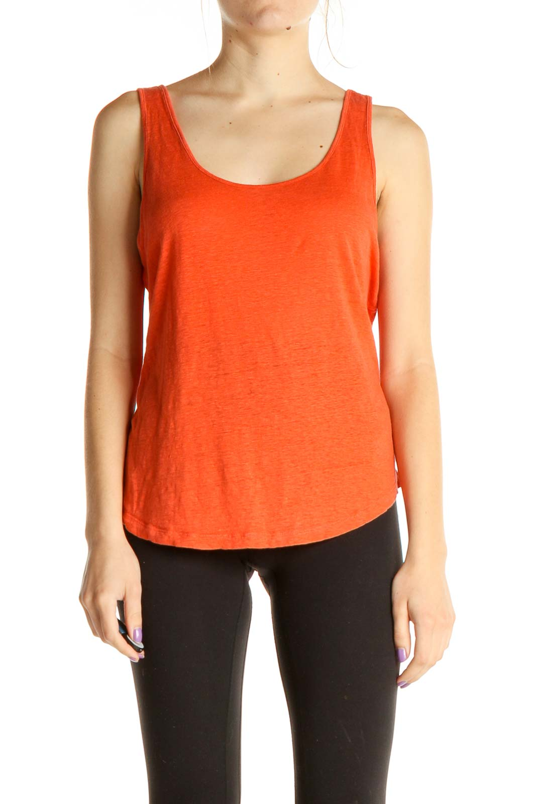 Orange Solid Casual Tank Top Front