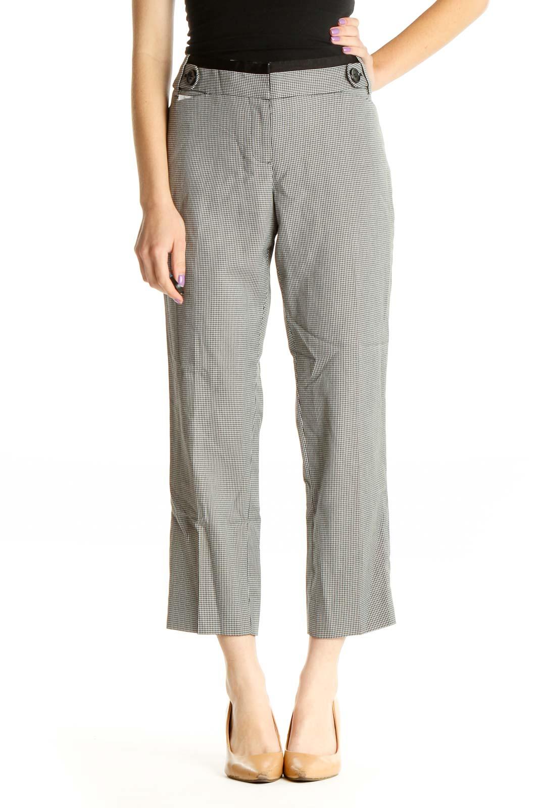 Gray Casual Capri Pants Front