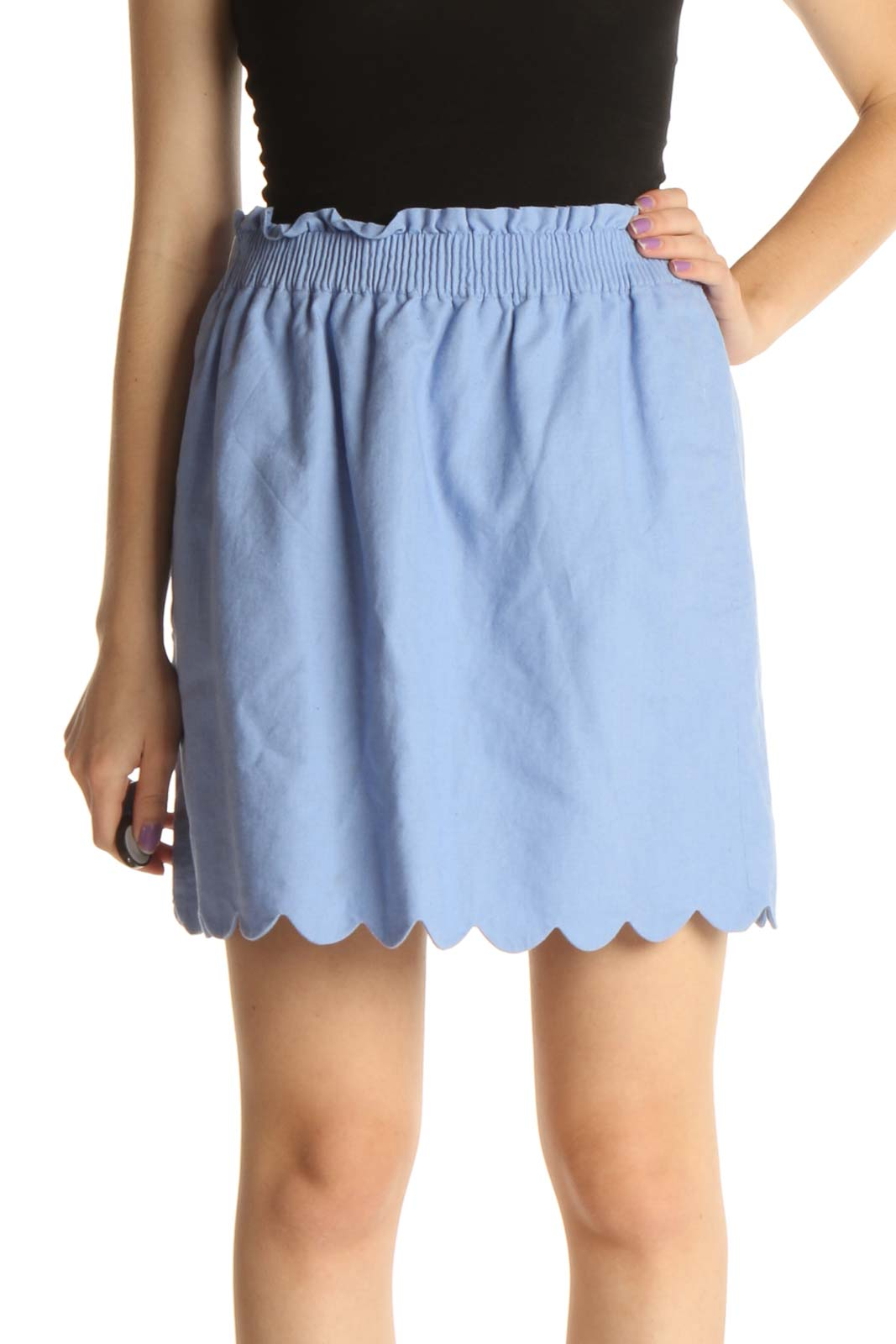 Blue Solid Chic Flared Skirt Front
