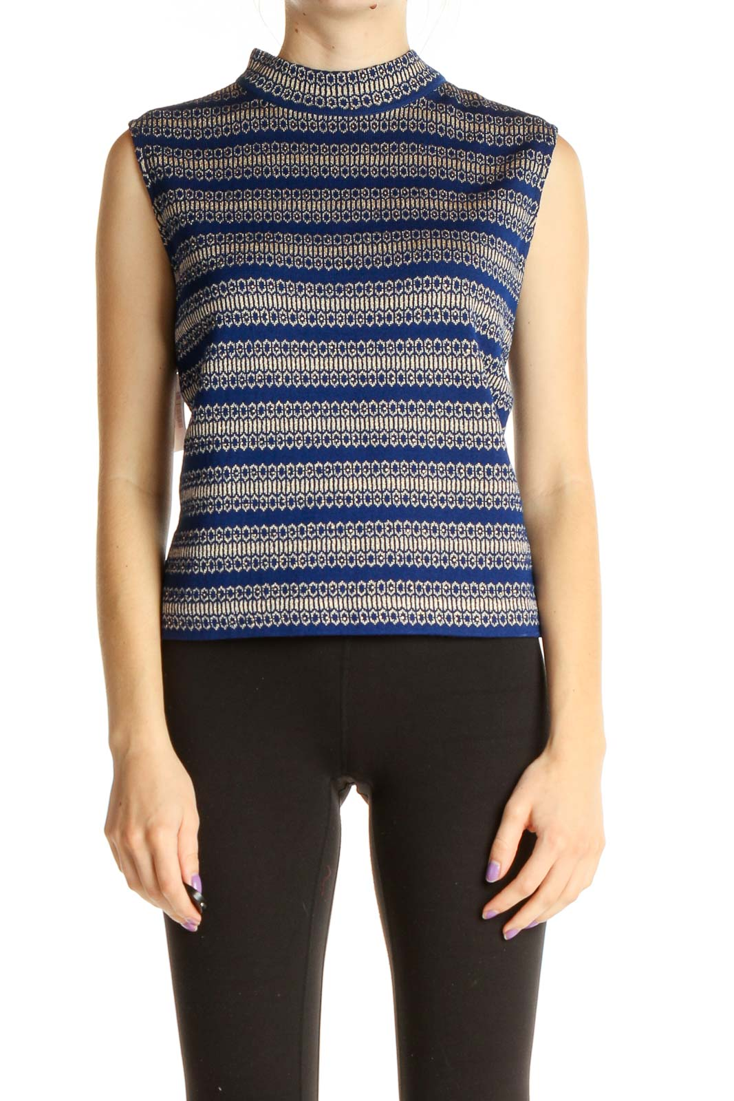 Blue Classic Sweater Top Front
