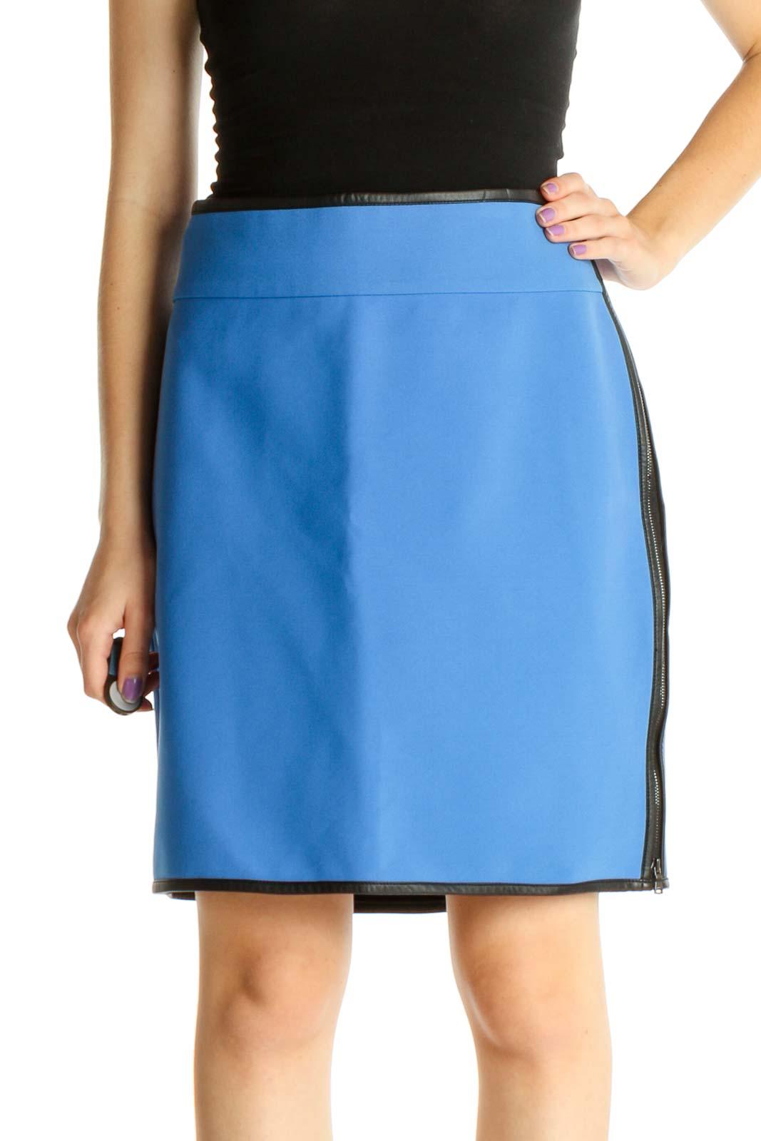 Blue Colorblock Brunch Pencil Skirt Front