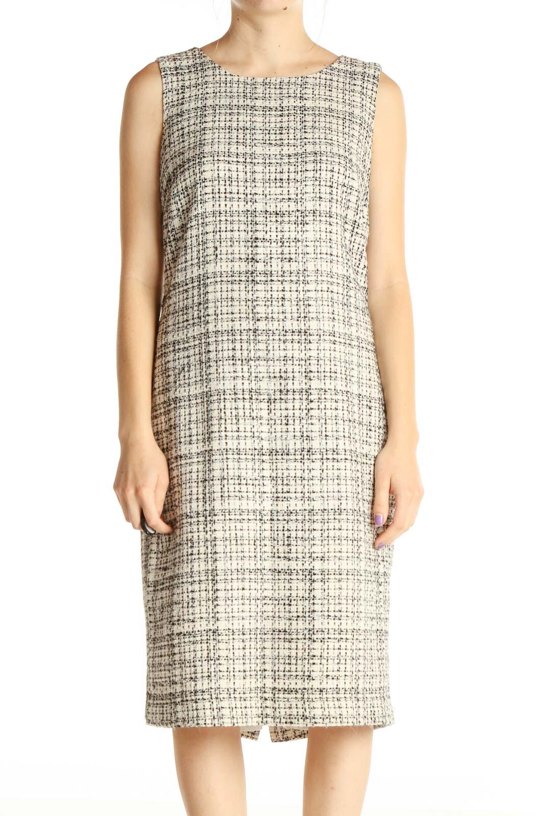 Beige Textured Classic Sheath Dress Front