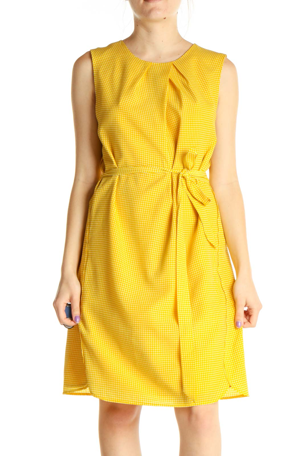 Yellow Solid Retro Fit & Flare Dress Front