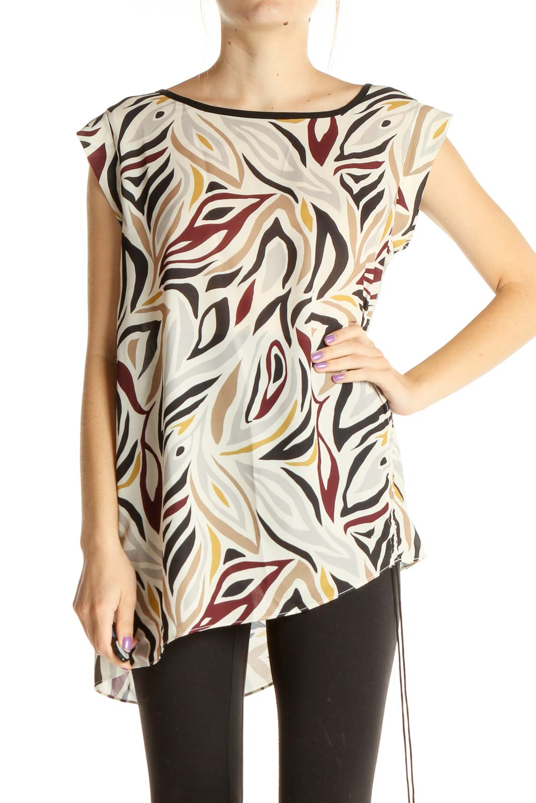 Beige Graphic Print Blouse Front