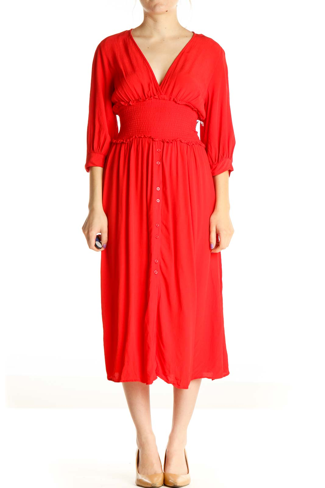 Red Solid Bohemian Fit & Flare Dress Front