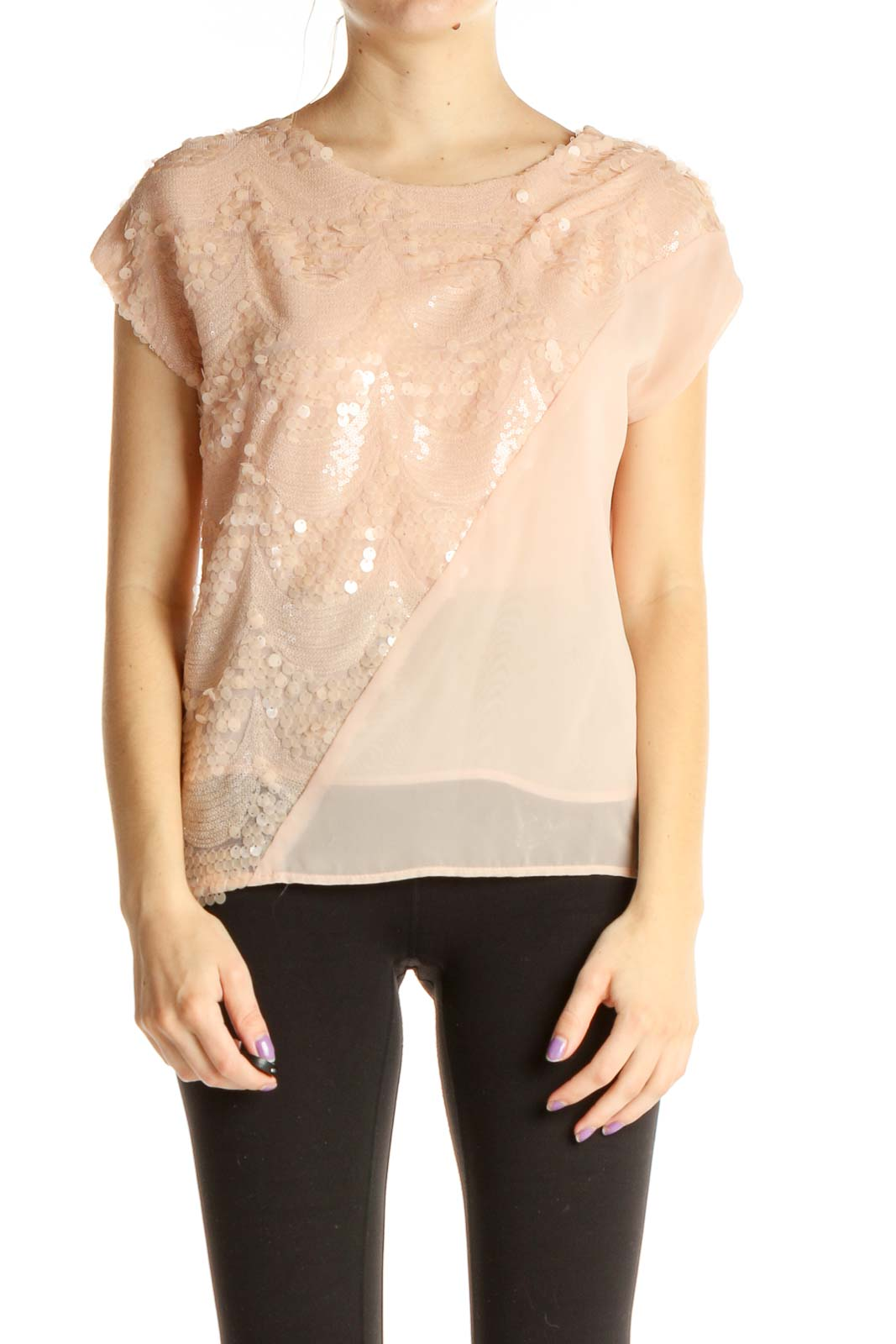 Pink Sequin Blouse Front
